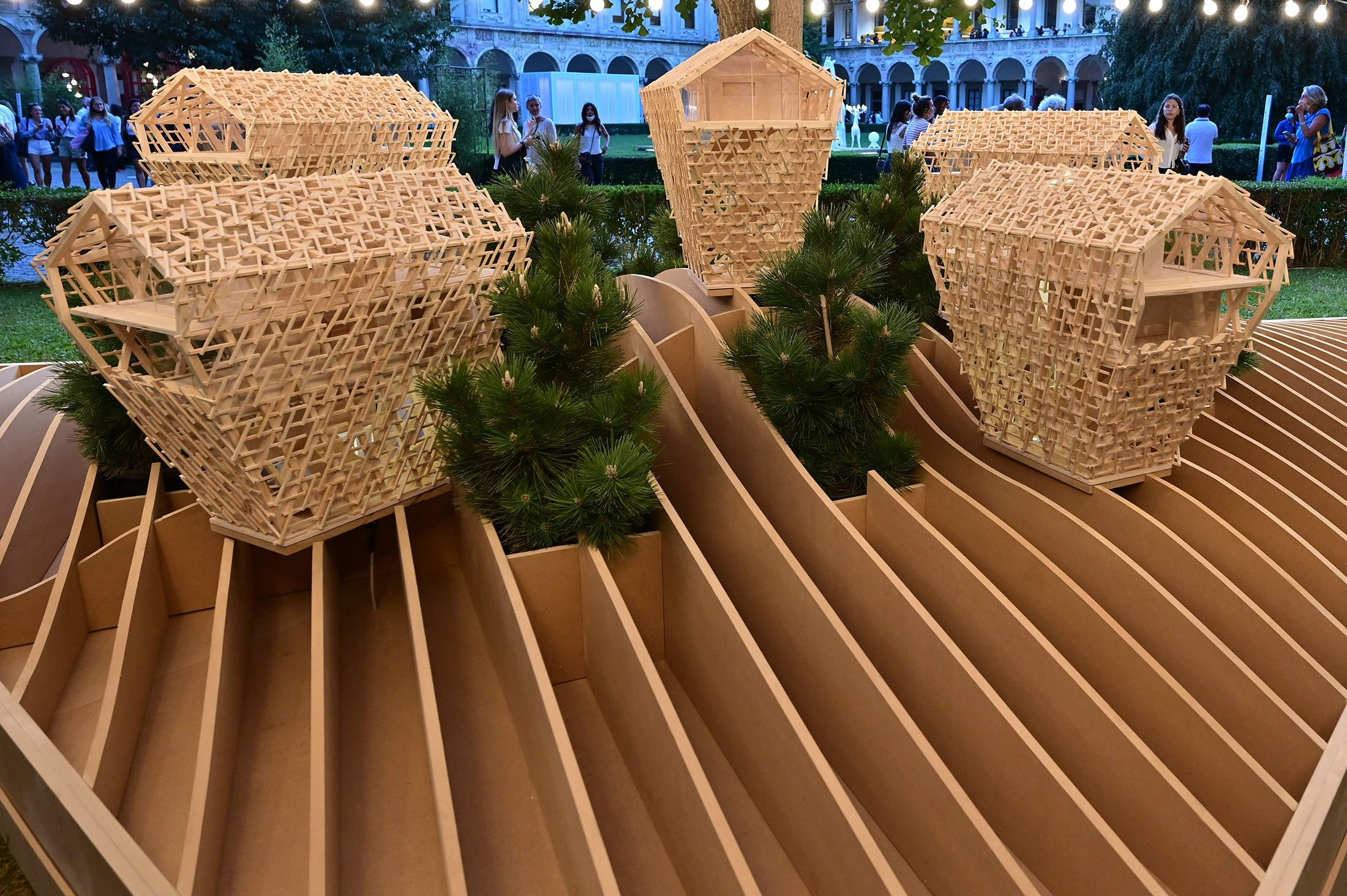 A project called 'Vertical Chalets' by Italian studio Peter Pichler Architecture at the University of Milan during the Fuori Salone 2021 design week, in Milan, Italy, Sept. 6, 2021. (AFP Photo)