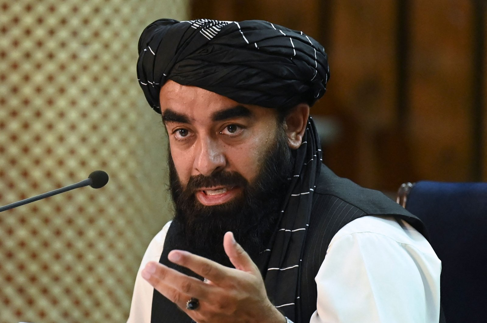 Taliban spokesperson Zabihullah Mujahid addresses a press conference in Kabul, Afghanistan, Sept. 7, 2021. (AFP Photo)