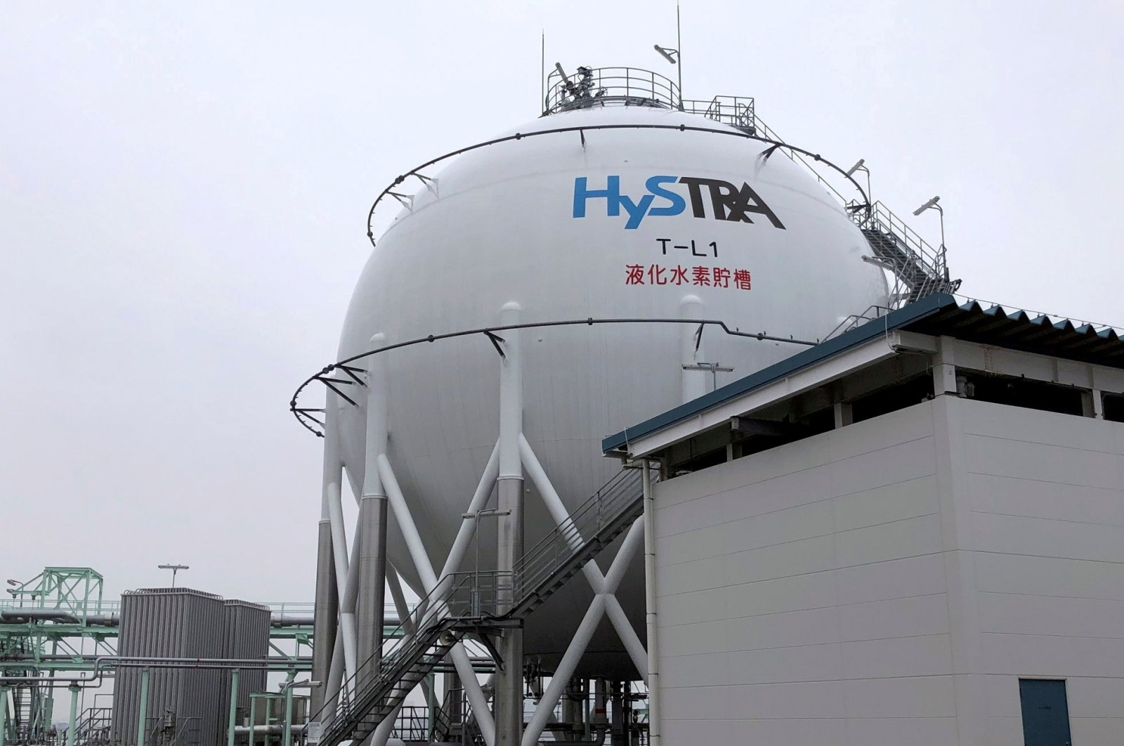 The logo of the CO2-free Hydrogen Energy Supply-chain Technology Research Association (HySTRA) is seen on a liquefied hydrogen storage tank built by Kawasaki Heavy Industries at the hydrogen receiving terminal at the Kobe Airport Island in Kobe, western Japan, Jan. 22, 2021. (Reuters Photo)