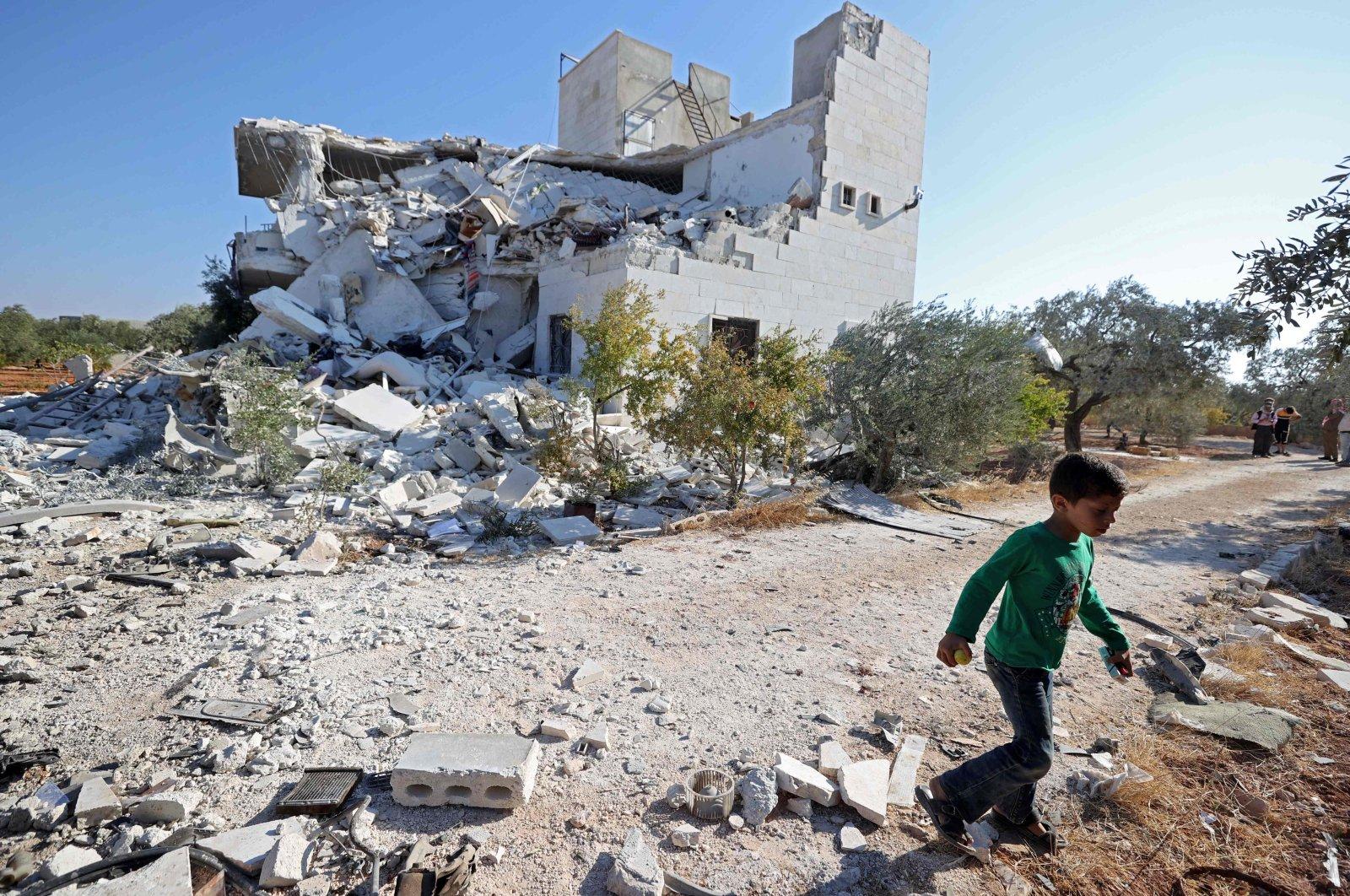 Destruction following the Syrian regime shelling in Idlib, northwestern Syria, Sept. 8, 2021. (AFP Photo)