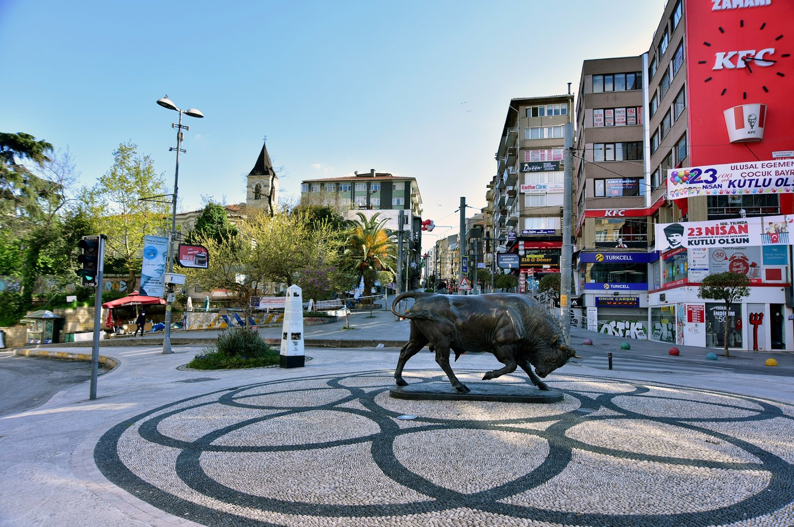 Bull statue at the Kadıköy square in Istanbul. (Shutterstock Photo)