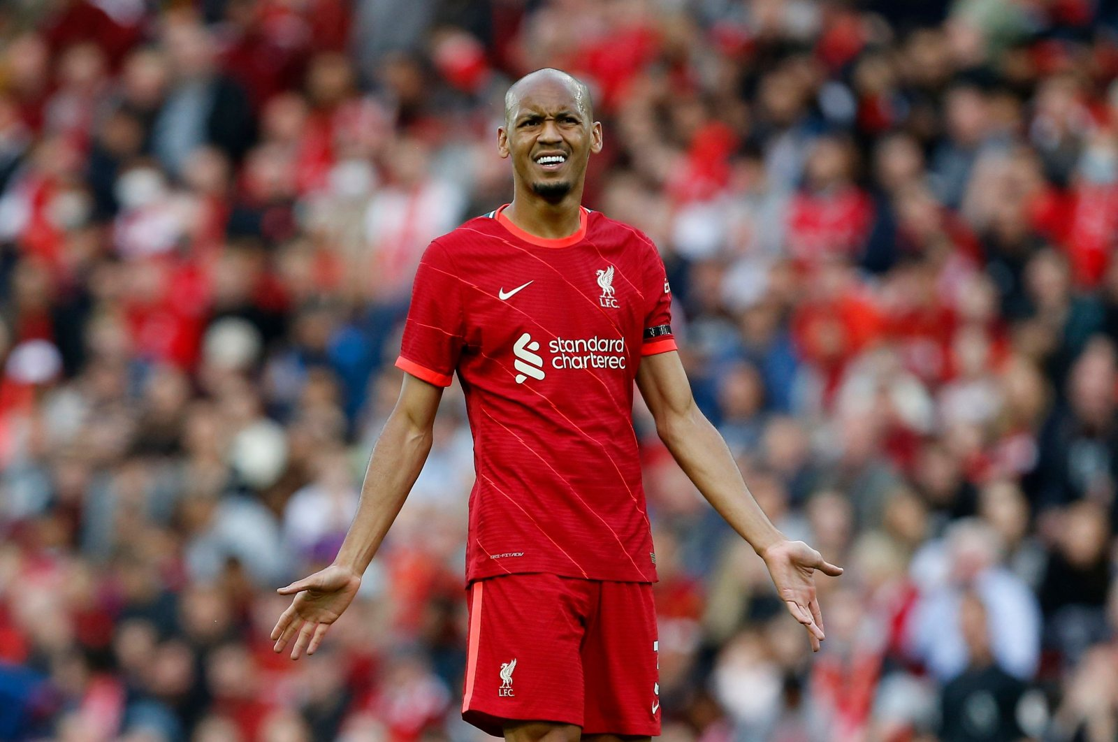 Liverpool's Brazilian midfielder Fabinho reacts during a friendly match against Osasuna, Anfield, Liverpool, Britain, Aug. 9, 2021. (Reuters Photo)