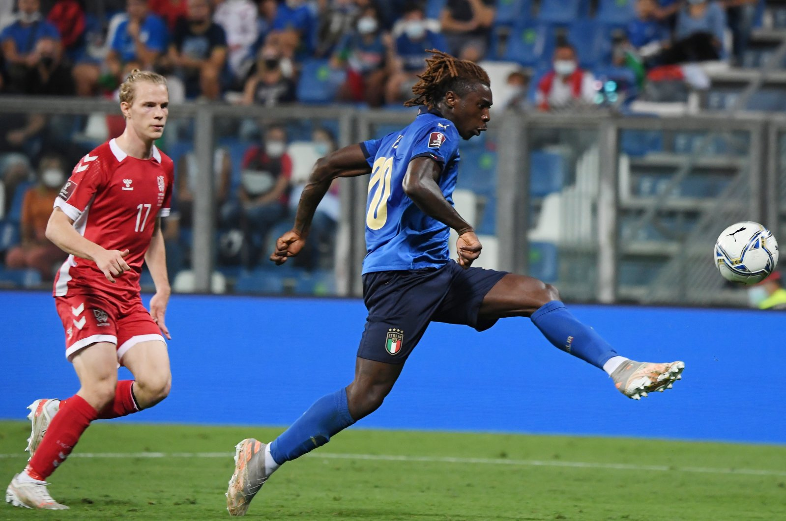 Italy's Moise Kean scores his side's fourth goal in a World Cup 2022 European qualifier against Lithuania at Mapei Stadium, Reggio Emilia, Italy, Sept. 8, 2021.