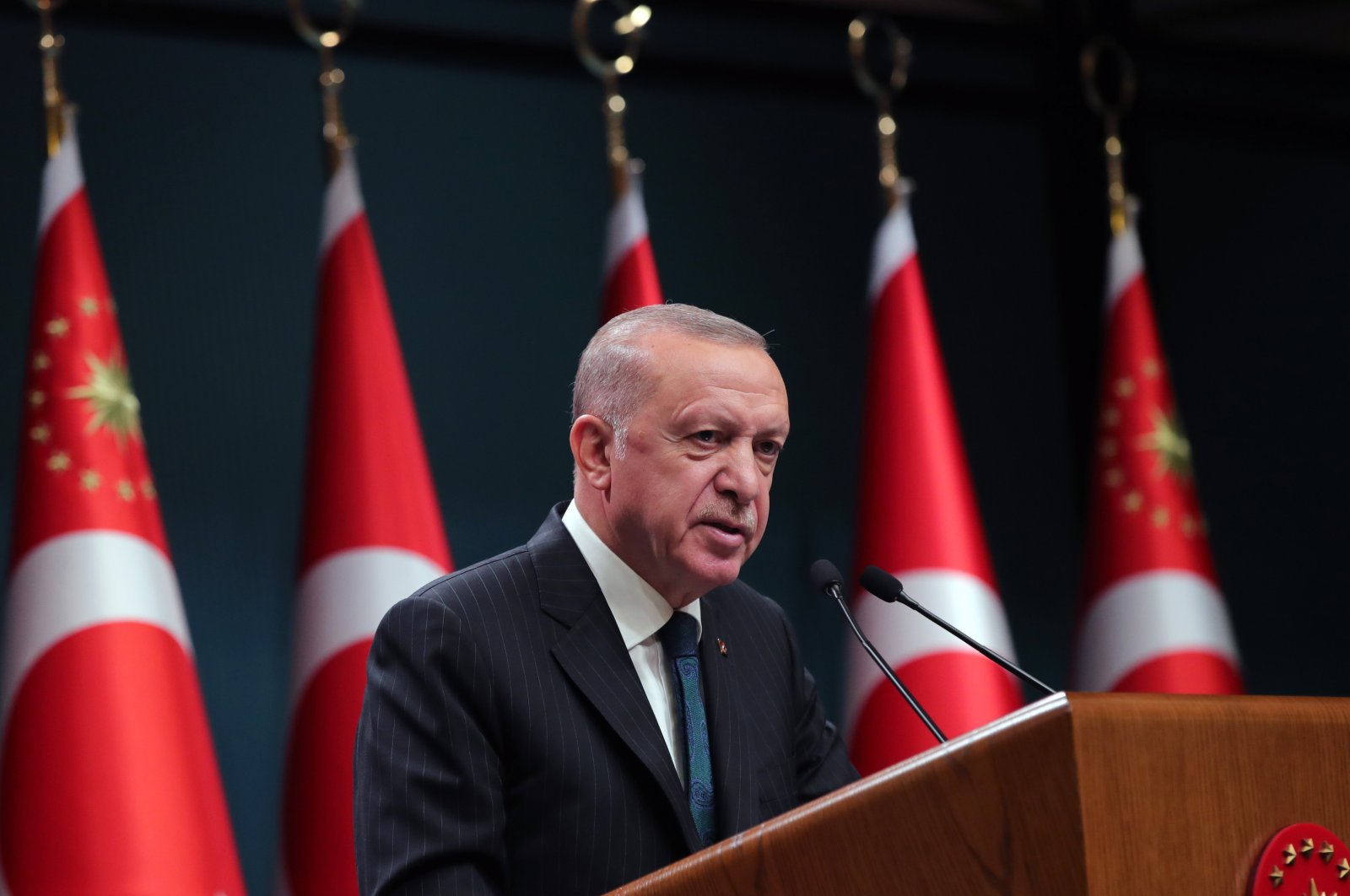 President Recep Tayyip Erdoğan speaks at the Presidential Complex, Ankara, Turkey, Sept. 7, 2021. (AA Photo)