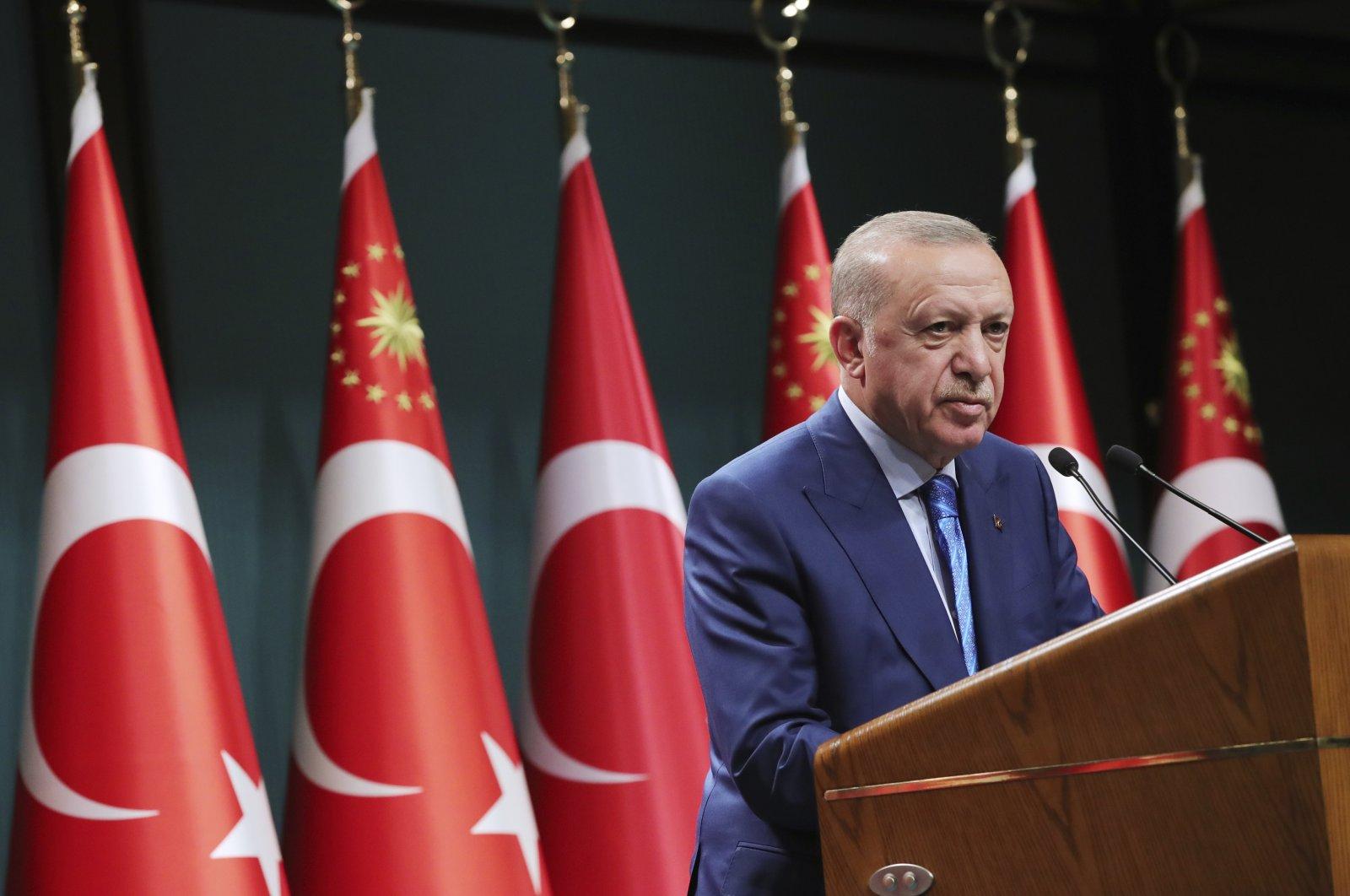 President Recep Tayyip Erdogan speaks during a televised address following a Cabinet meeting, in Ankara, Turkey, Aug. 19, 2021. (Turkish Presidency via AP, Pool)