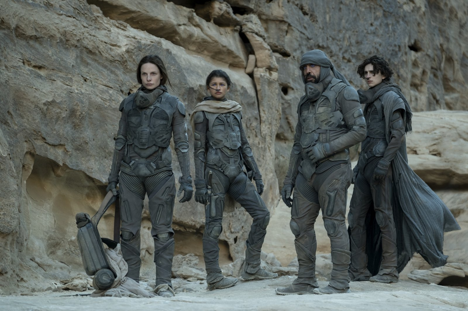 """From left to right, Rebecca Furguson as Lady Jessica Atreides, Zendaya as Chani, Javier Bardem as Stilgar and Timothee Chalamet as Paul Atreides in a scene of the film """"Dune."""" (dpa Photo)"""