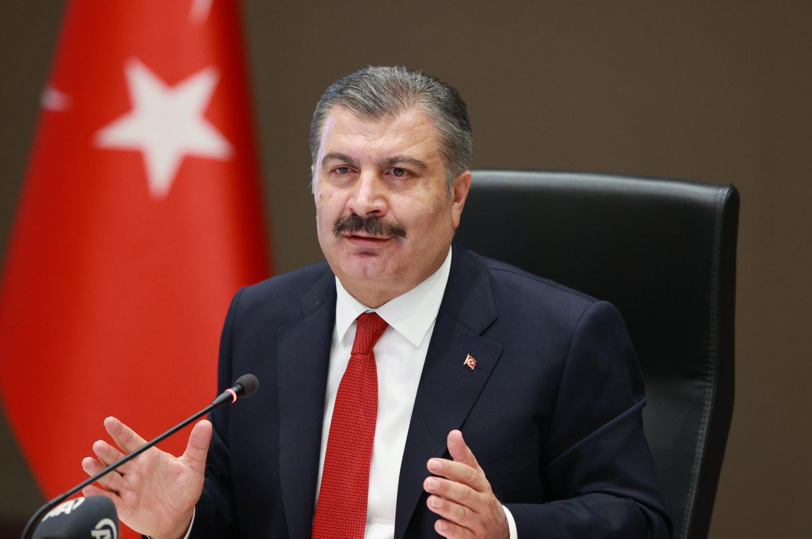 Health Minister Fahrettin Koca speaks after a Coronavirus Scientific Advisory Board meeting in Ankara, Turkey, Sept. 2, 2021 (AA Photo)
