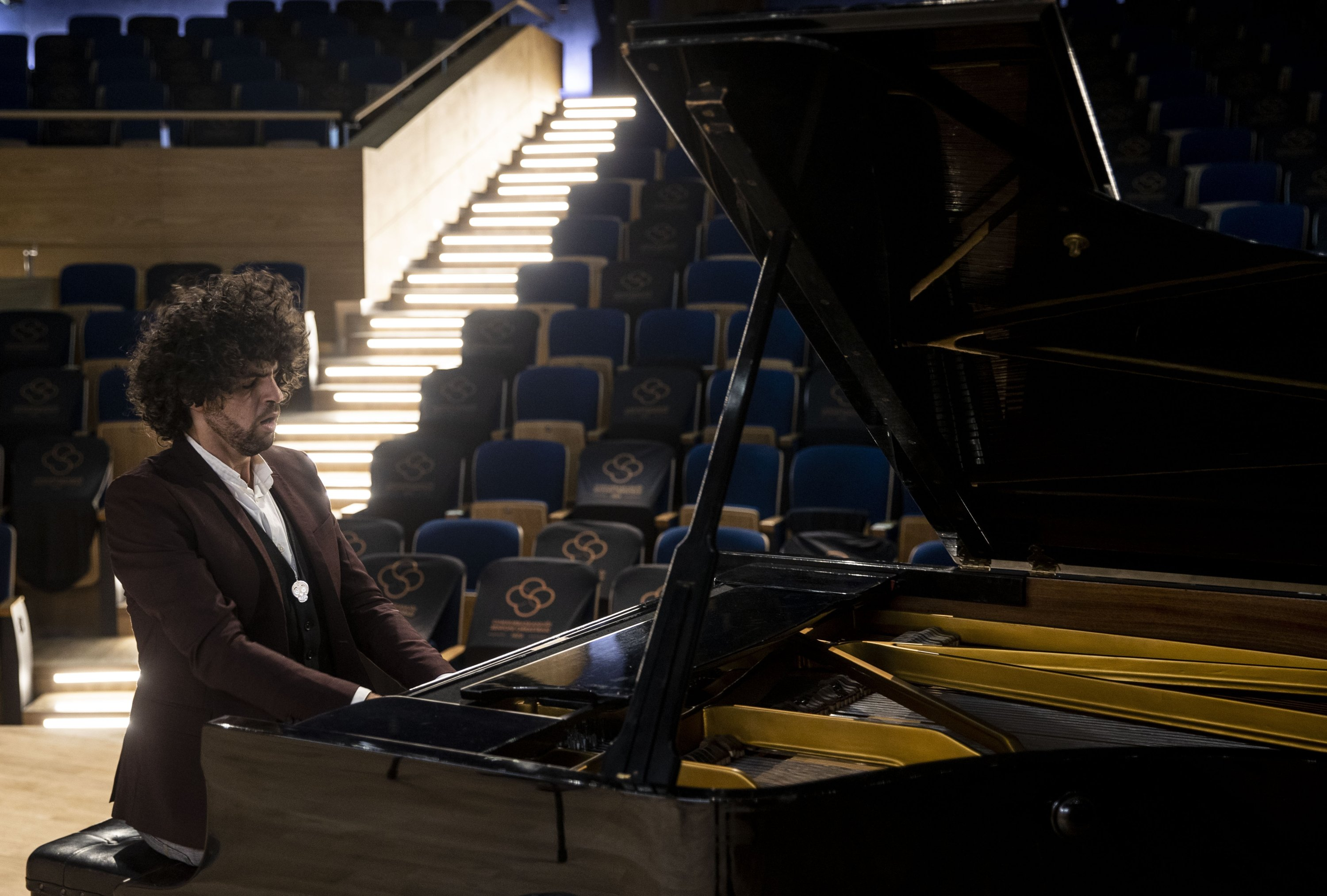 French pianist Simon Ghraichy performs at the Presidential Symphony Orchestra's concert hall, Ankara, Turkey, Sept. 8, 2021. (AA Photo)