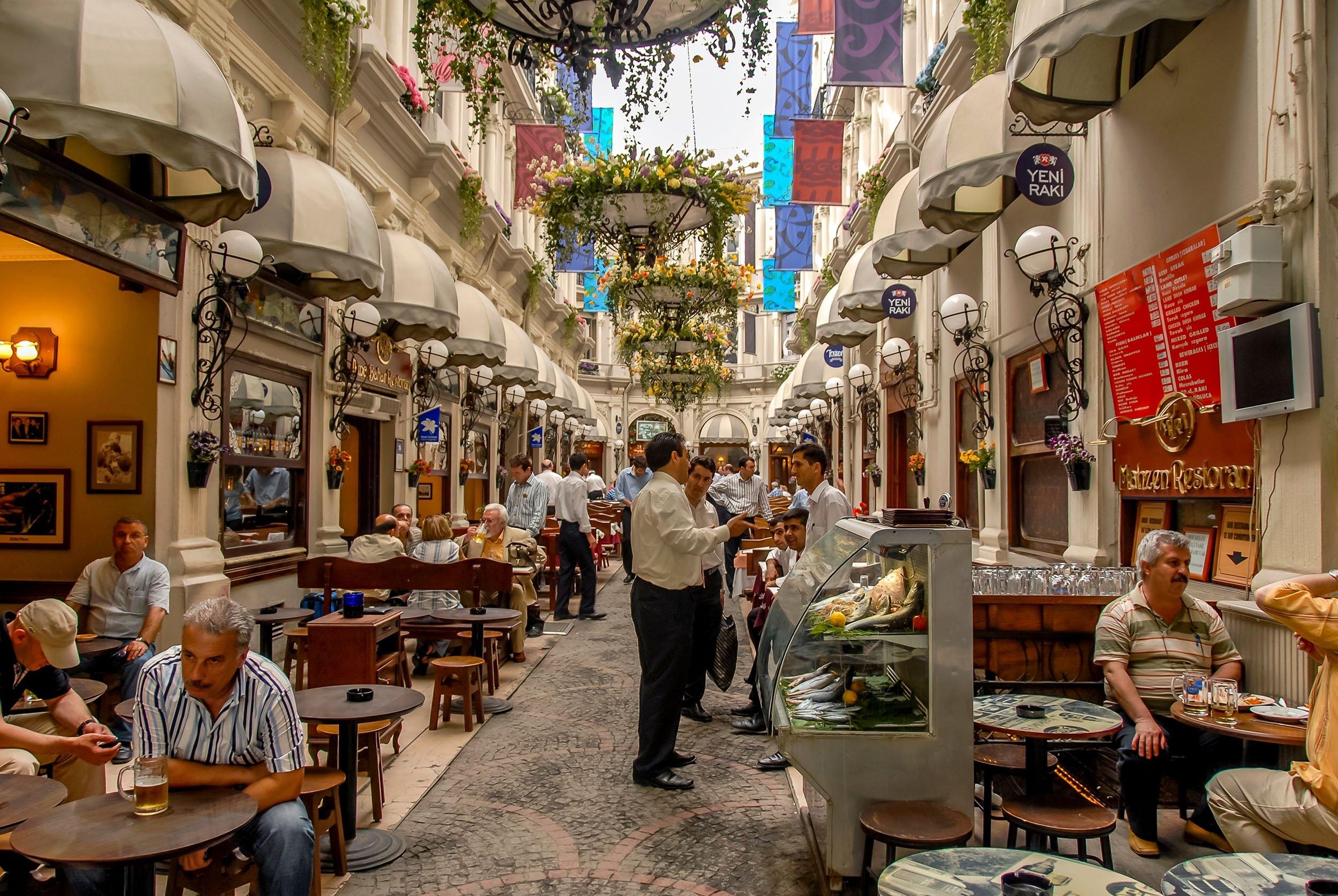 Çiçek Pasajı, or Cite de Pera,a famous historic passage on Istiklal Avenue in the Beyoğlu district,Istanbul, Turkey. (Shutterstock Photo)