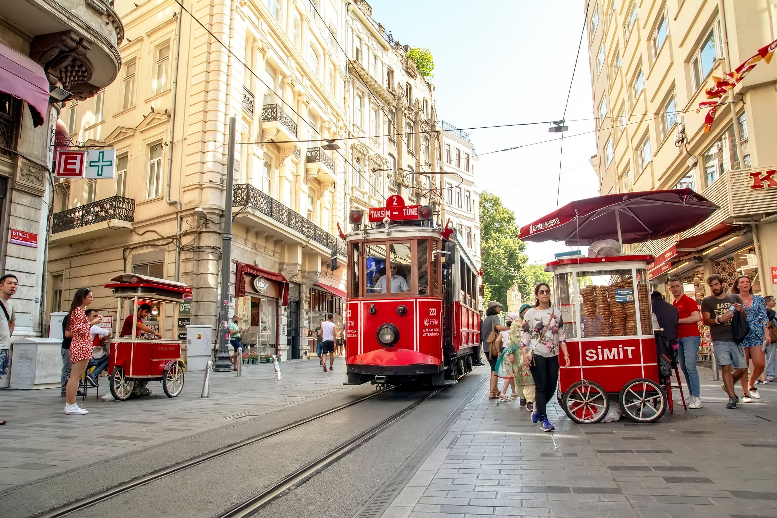 The nostalgic red tram of Taksim on the Istiklal Avenue in the Beyoğlu district,Istanbul, Turkey. (Shutterstock Photo)
