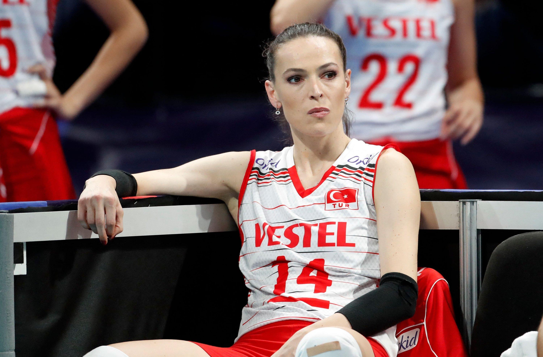 Turkey's Eda Erdem Dündar looks on during the 2021 women's CEV EuroVolley semifinal volleyball match between Turkey and Serbia in Belgrade, Serbia, Sept. 3, 2021. (AFP Photo)