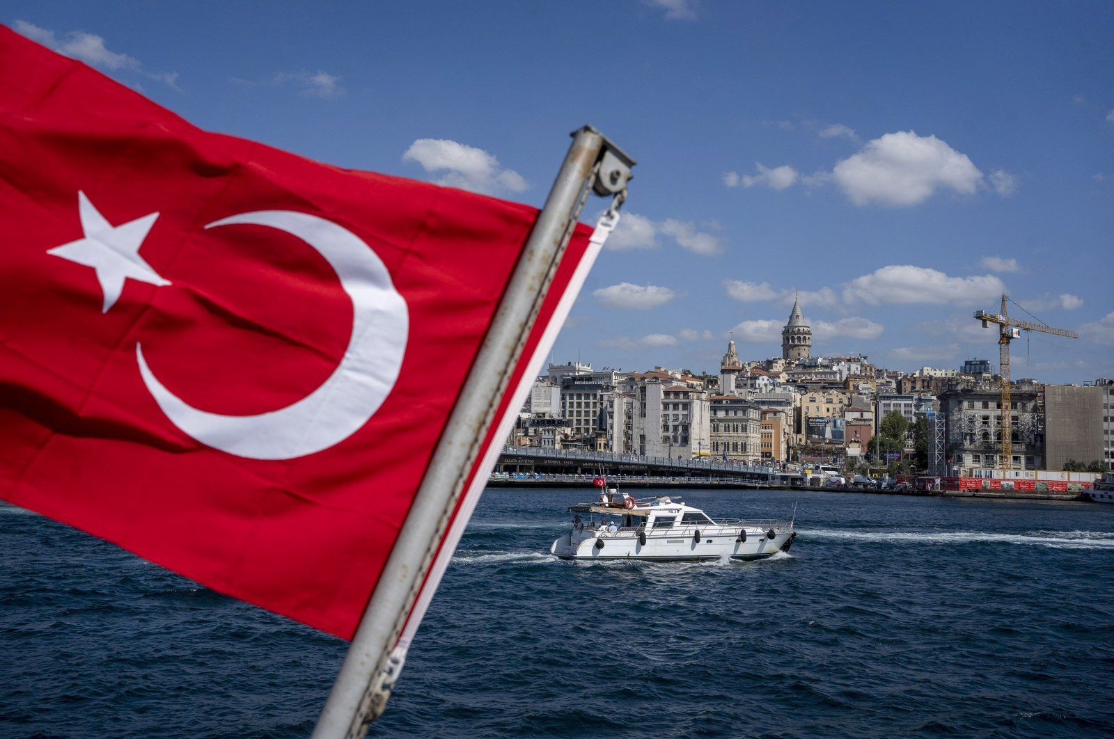 A Turkish national flag on a ferry in Istanbul, Turkey, Aug. 16, 2021. (Photo by Getty Images)