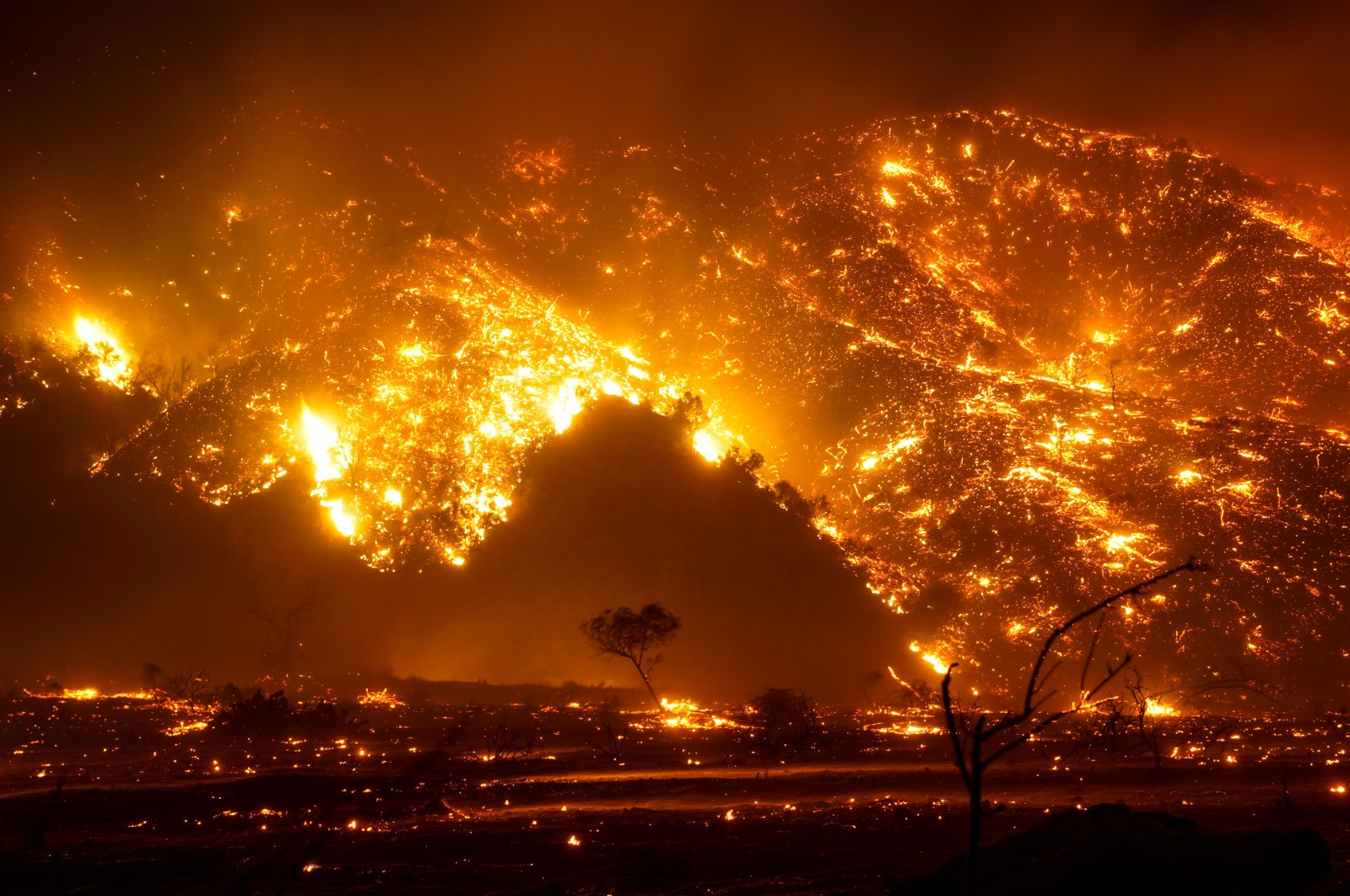 A wildfire escalates into nearby vegetation in Silverado, California, U.S., Dec. 3, 2020. (Photo by Getty Images)