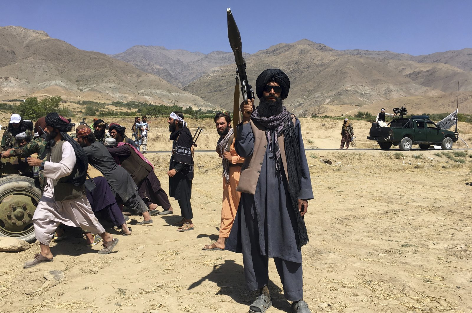 Taliban soldiers stand guard in Panjshir province, northeastern Afghanistan, Sept. 8, 2021. (AP Photo)
