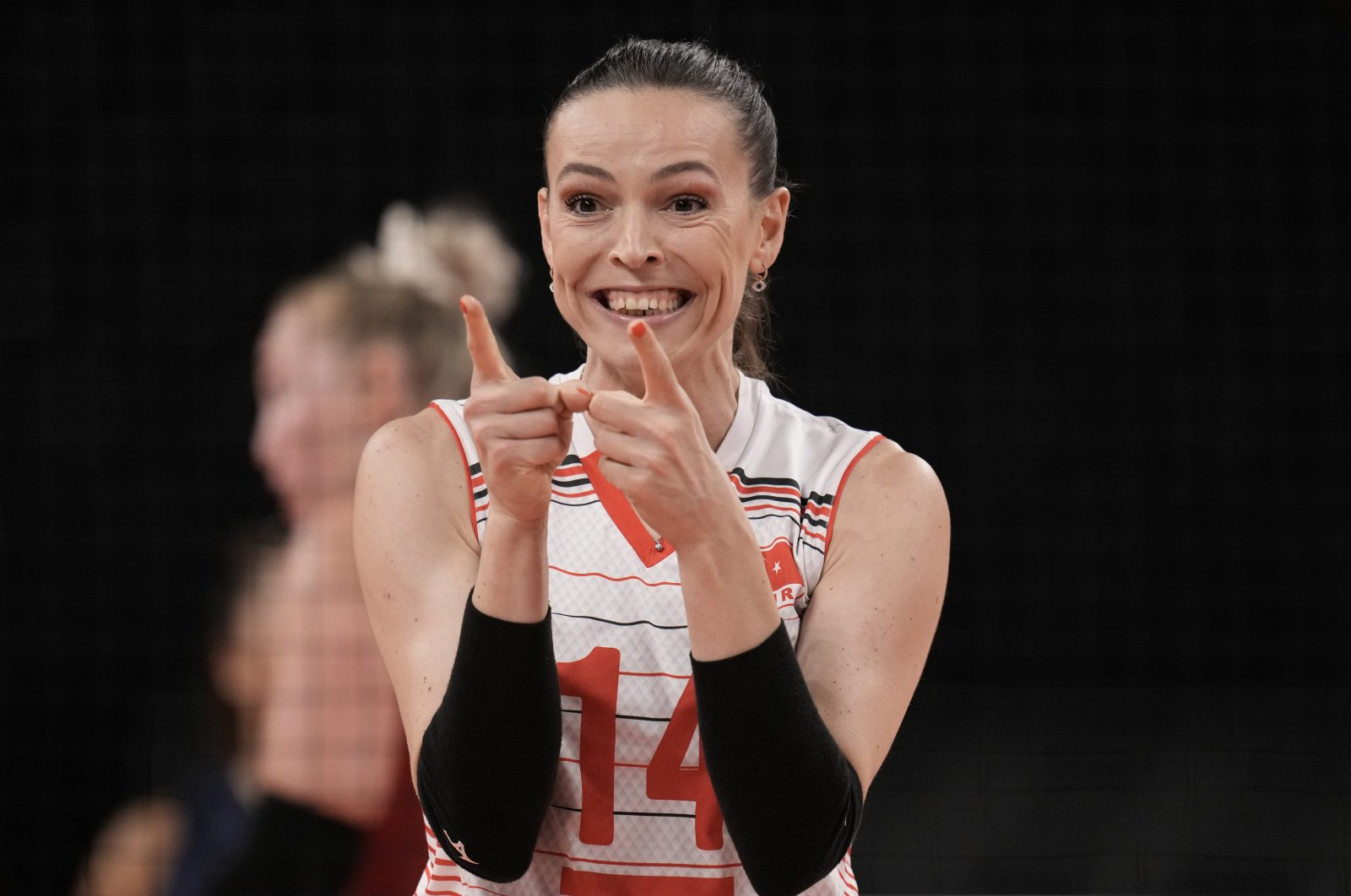 Turkey's Eda Erdem Dündar celebrates a point during a women's volleyball preliminary round match against the United States, at the 2020 Summer Olympics, Tokyo, Japan, July 29, 2021. (AP Photo)