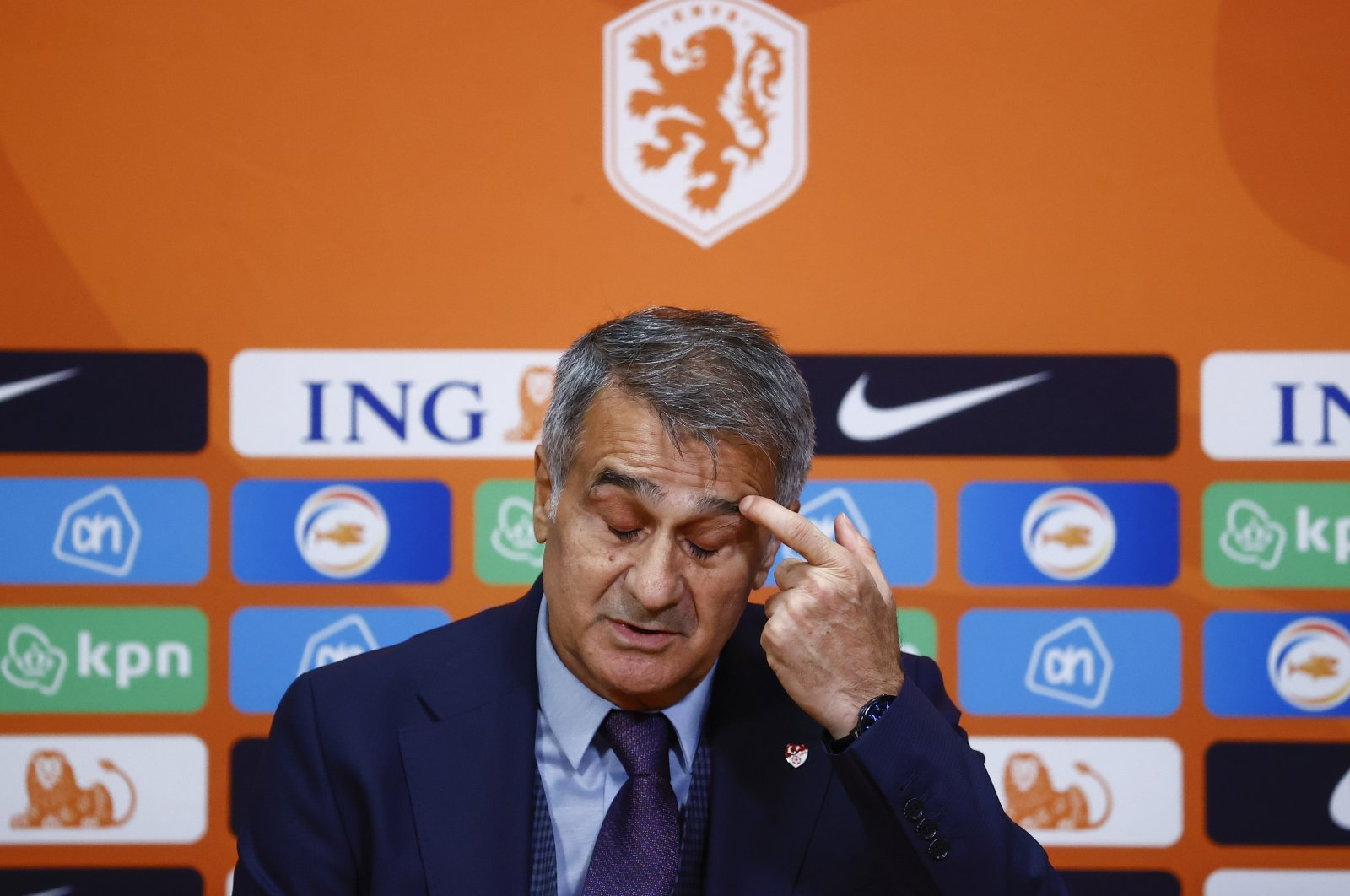 Şenol Güneş gestures at a post-match press conference, in Amsterdam, Netherlands, Sept. 8, 2021. (AA PHOTO)