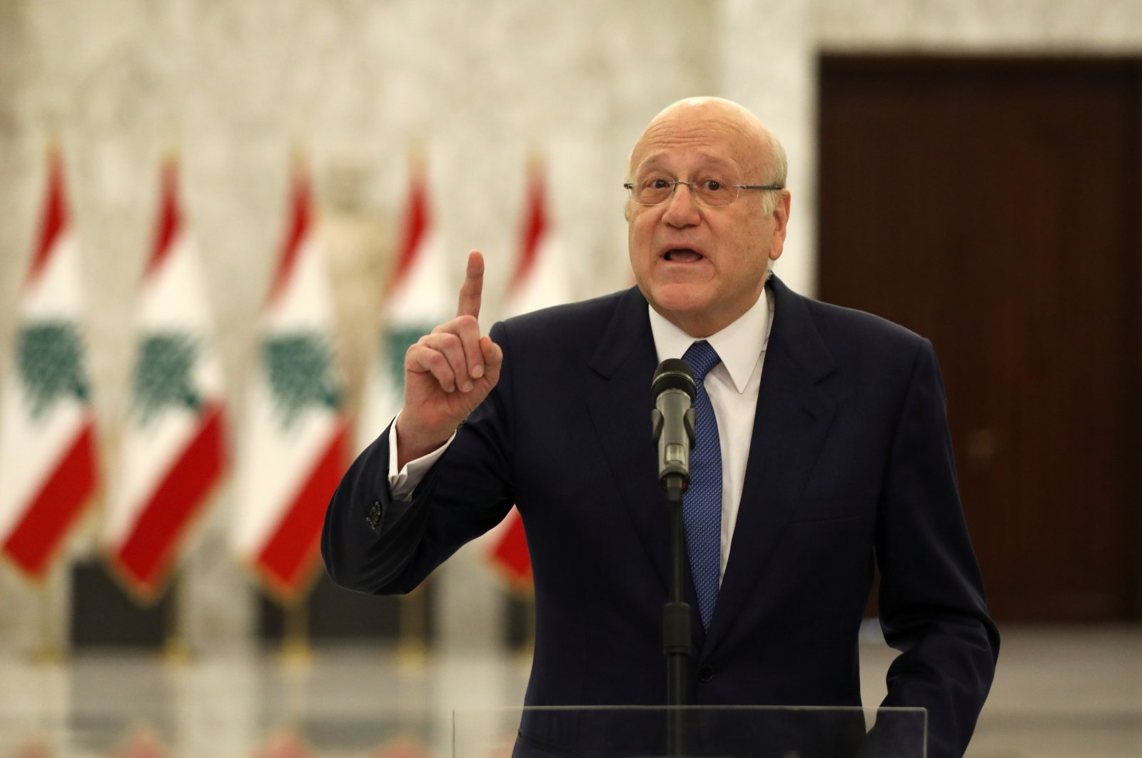 Lebanon's Prime Minister Najib Mikati gestures as he speaks to the press after meeting with President Michel Aoun at the presidential palace in Baabda, Lebanon, Sept. 10, 2021. (Reuters Photo)
