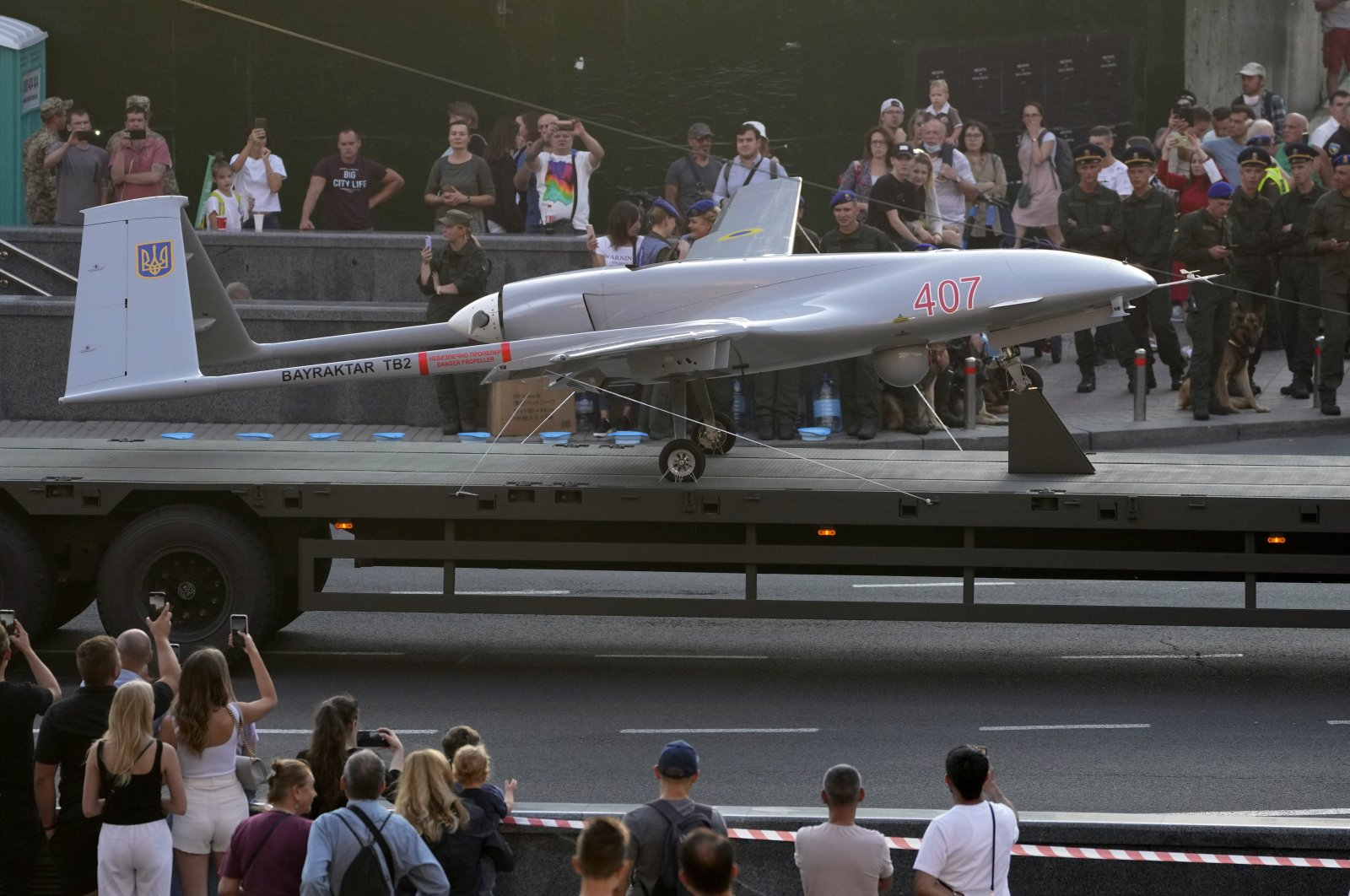 A Turkish-made Bayraktar TB2 drone is seen during a rehearsal of a military parade dedicated to Independence Day in Kyiv, Ukraine, Aug. 20, 2021. (AP Photo)
