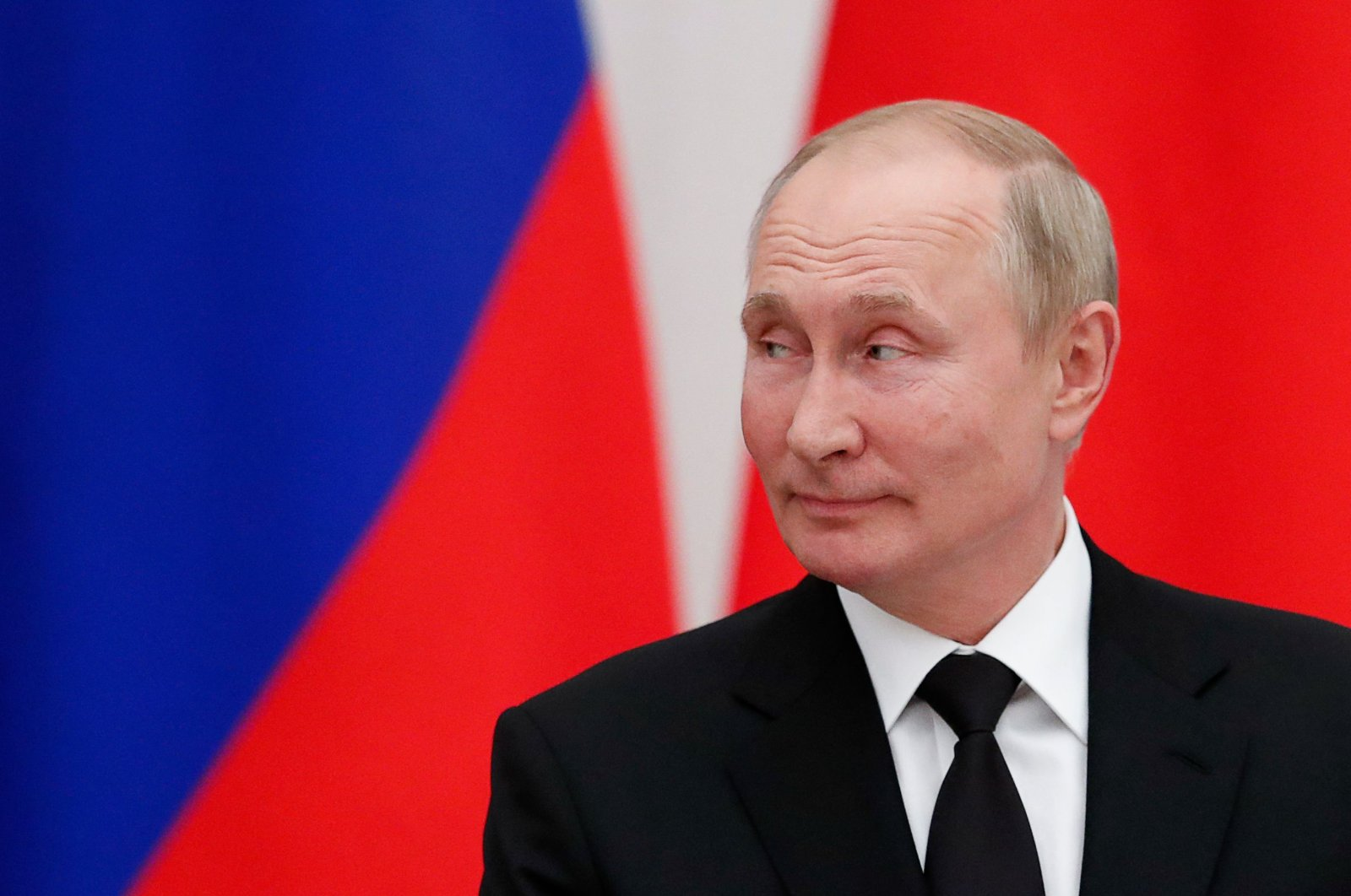 Russian President Vladimir Putin attends a press conference with the Belarusian president (not pictured) following their talks at the Kremlin in Moscow, Russia, Sept. 9, 2021. (AFP Photo)