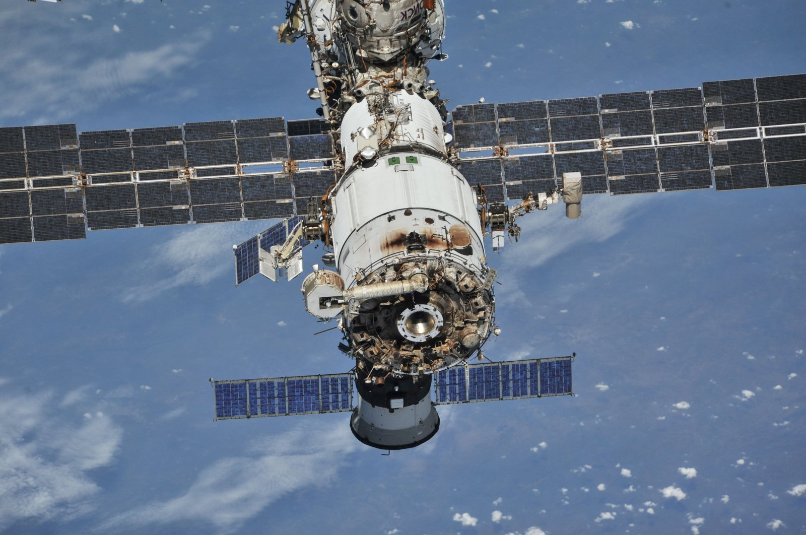 The International Space Station (ISS) photographed by Expedition 56 crew members from a Soyuz spacecraft after undocking, Oct. 4, 2018. (Reuters Photo)