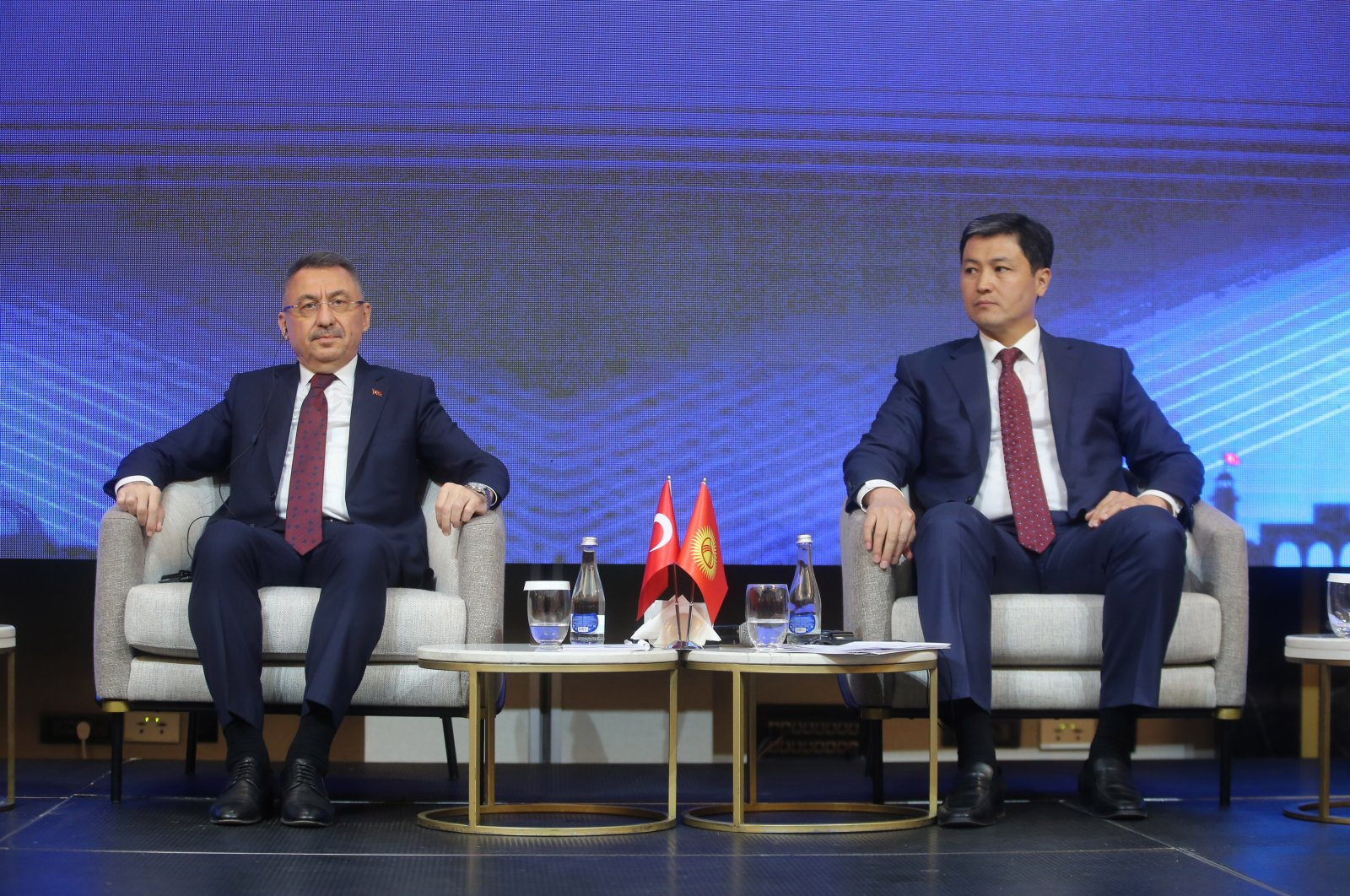 Turkish Vice President Fuat Oktay (L) attends the 10th Turkey-Kyrgyzstan Joint Economic Commission Meeting, Bishkek, Kyrgyzstan, Sept. 10, 2021. (AA Photo)