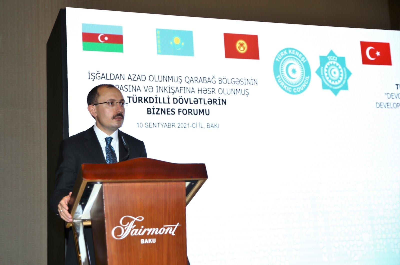 Turkish Trade Minister Mehmet Muş speaks during a business forum in Baku, Azerbaijan, Sept. 10, 2021. (AA Photo)