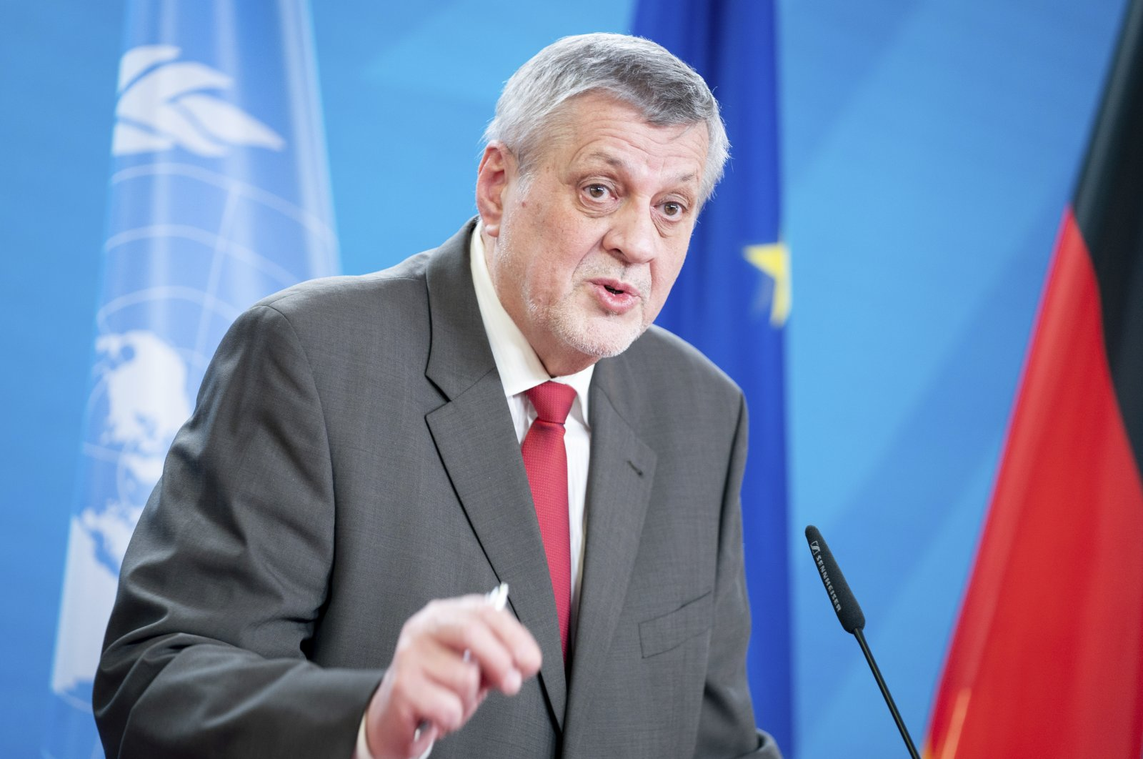 U.N. Special Envoy for Libya Jan Kubis addresses the media during a news conference with German Foreign Minister Heiko Maas at the Foreign Office in Berlin, Germany, March 18, 2021. (AP File Photo)