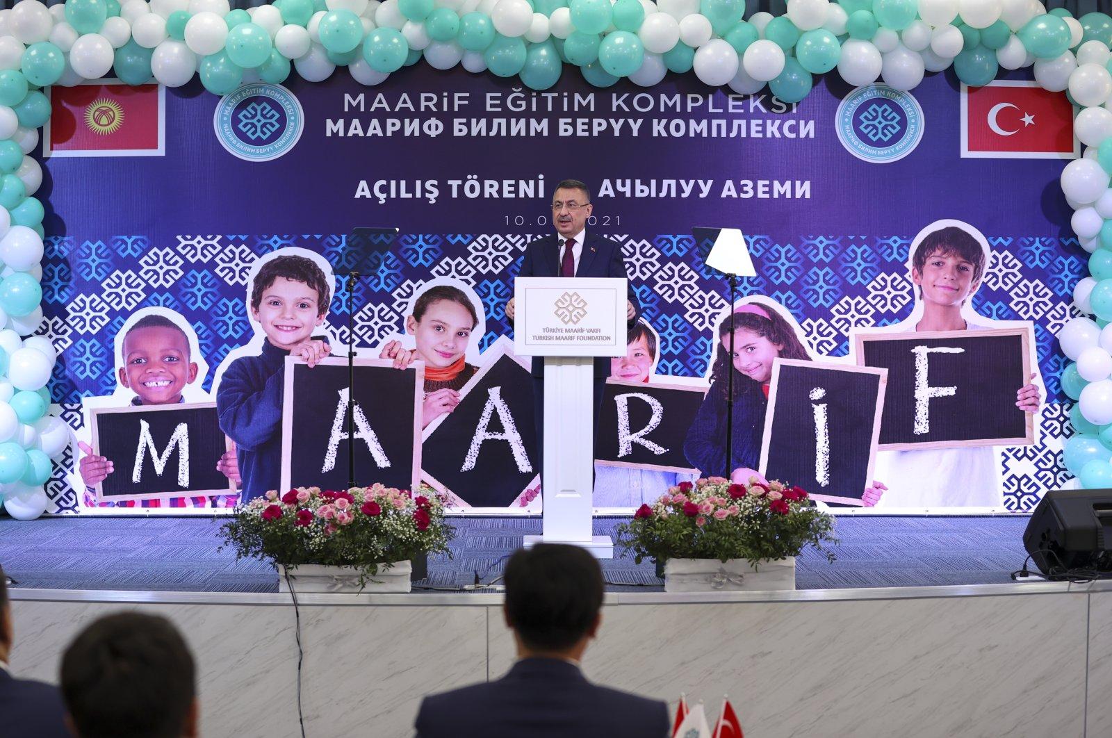 Vıce President Fuat Oktay speaks at the inauguration ceremony of Maarif schools in Bishkek, Kyrgyzstan, Sept. 10, 2021. (AA Photo)
