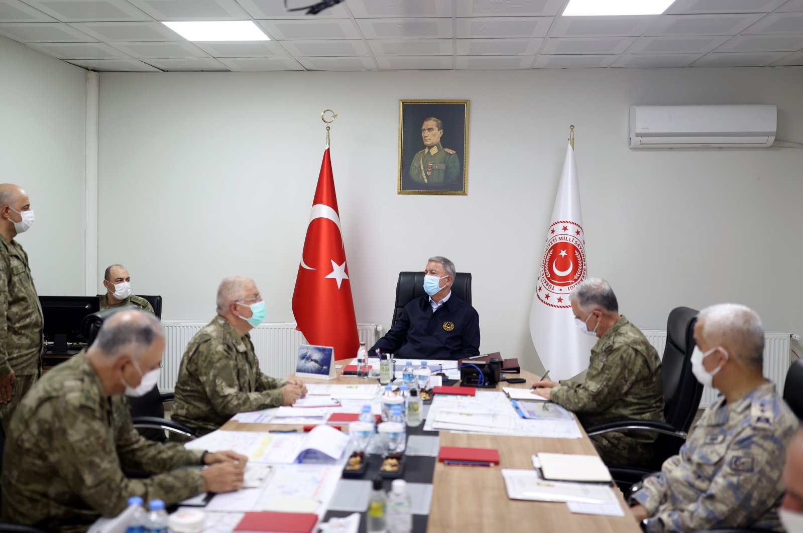 Defense Minister Hulusi Akar holds a meeting with commanders, July 27, 2021. (AA File Photo)