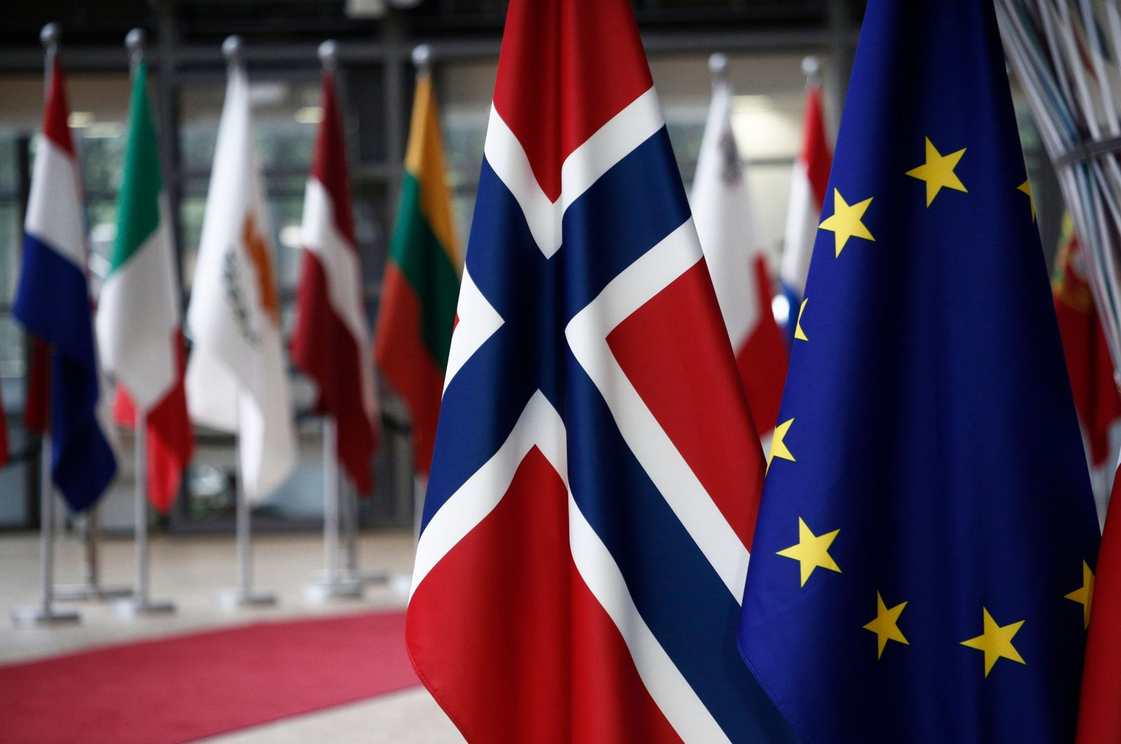 The flags of Norway and the European Union are seen in the EU Council building in Brussels, Belgium, June 5, 2018. (Shutterstock Photo)