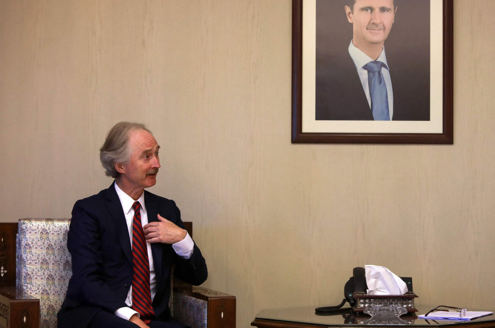 United Nations Special Envoy for Syria Geir Pedersen gestures during a meeting with the Bashar Assadregime's Foreign Minister Faisal Miqdad (not pictured) in Damascus, Syria, Sept. 11, 2021. (AFP Photo)