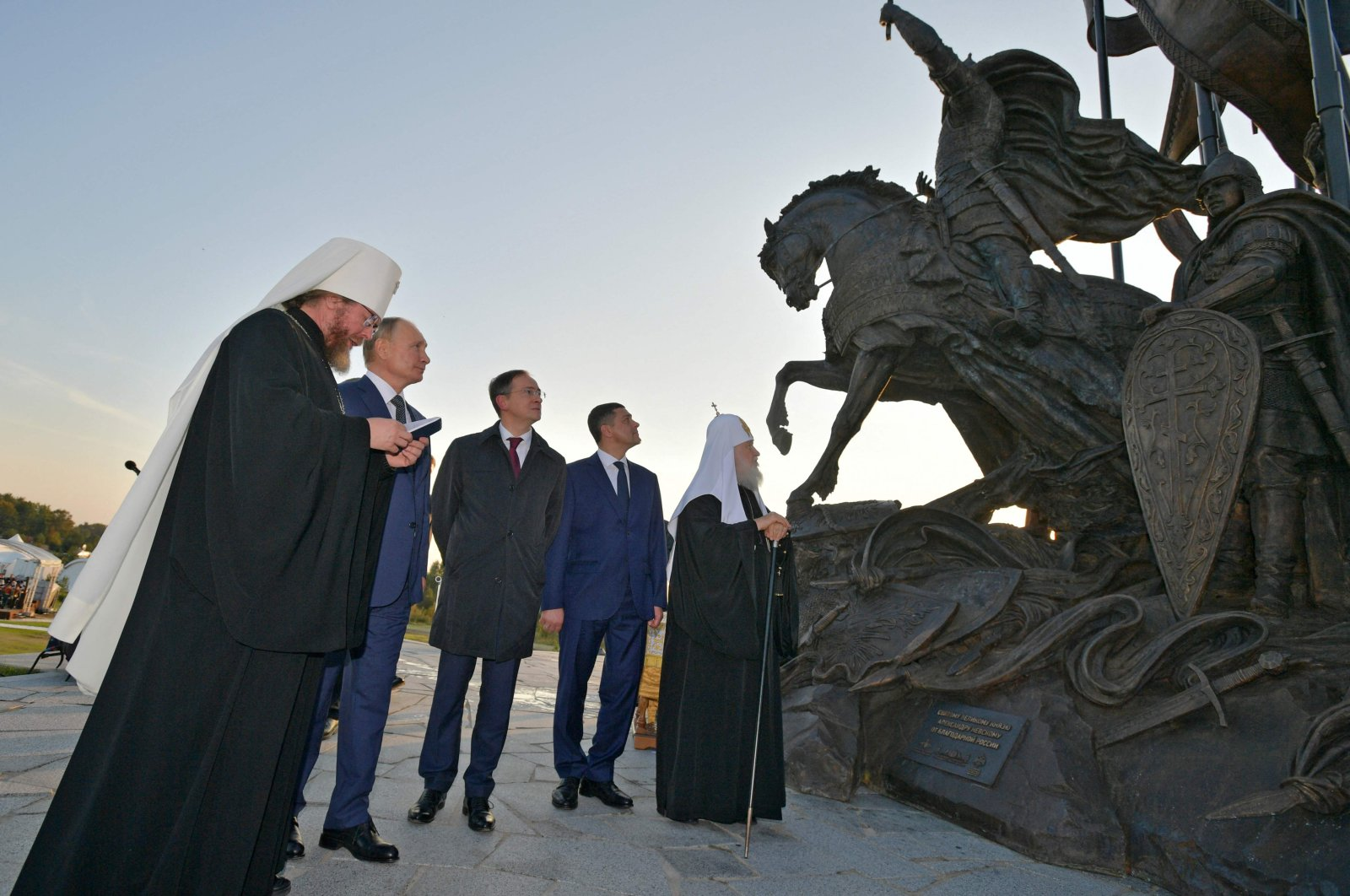 Russian President Vladimir Putin (2nd L) participates in a ceremony to unveil a huge monument of legendary Russian medieval prince Alexander Nevsky in the village of Samolva, outside Pskov, Sept. 11. 2021. (AFP Photo)