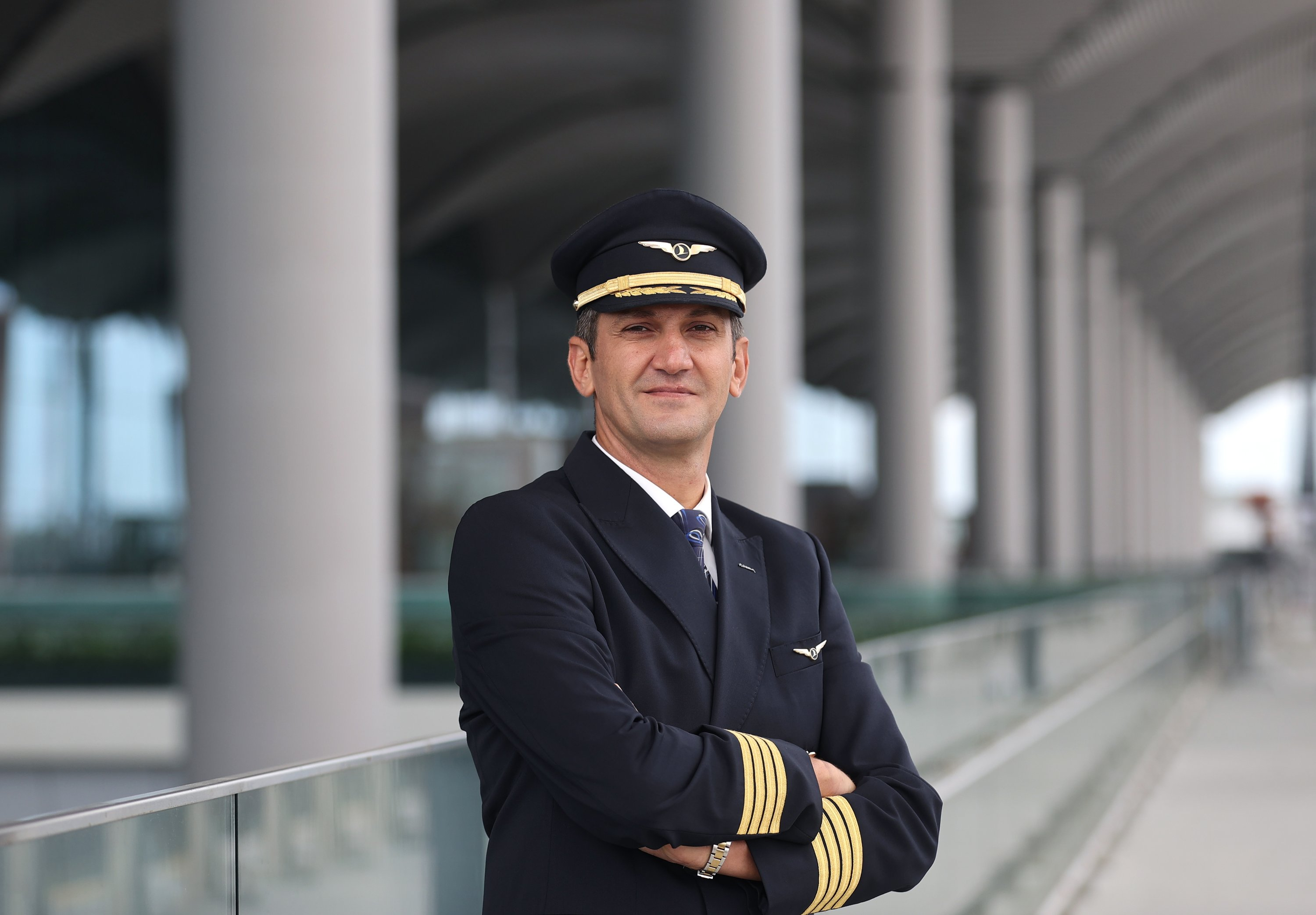 TALPA Chairperson Captain Hüseyin Murat Ersoy poses during an interview on Turkish aviation, Sept. 12, 2021. (AA Photo)