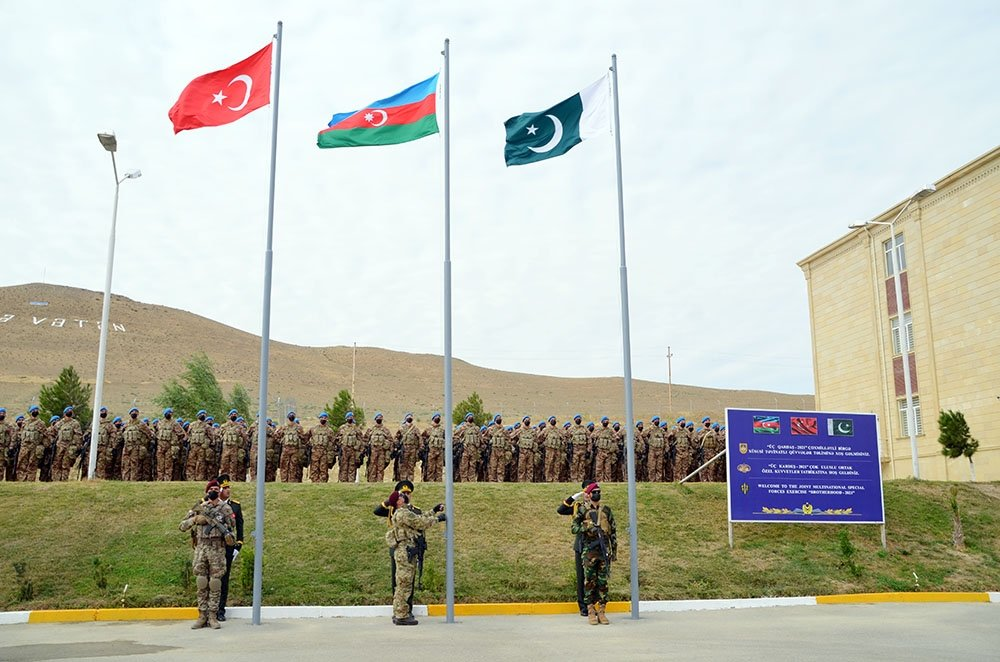 Turkish, Pakistani and Azerbaijani troops attend the opening ceremony of the joint military drill in Baku, Sept. 12, 2021. (Azerbaijani Defense Ministry Handout via AA)