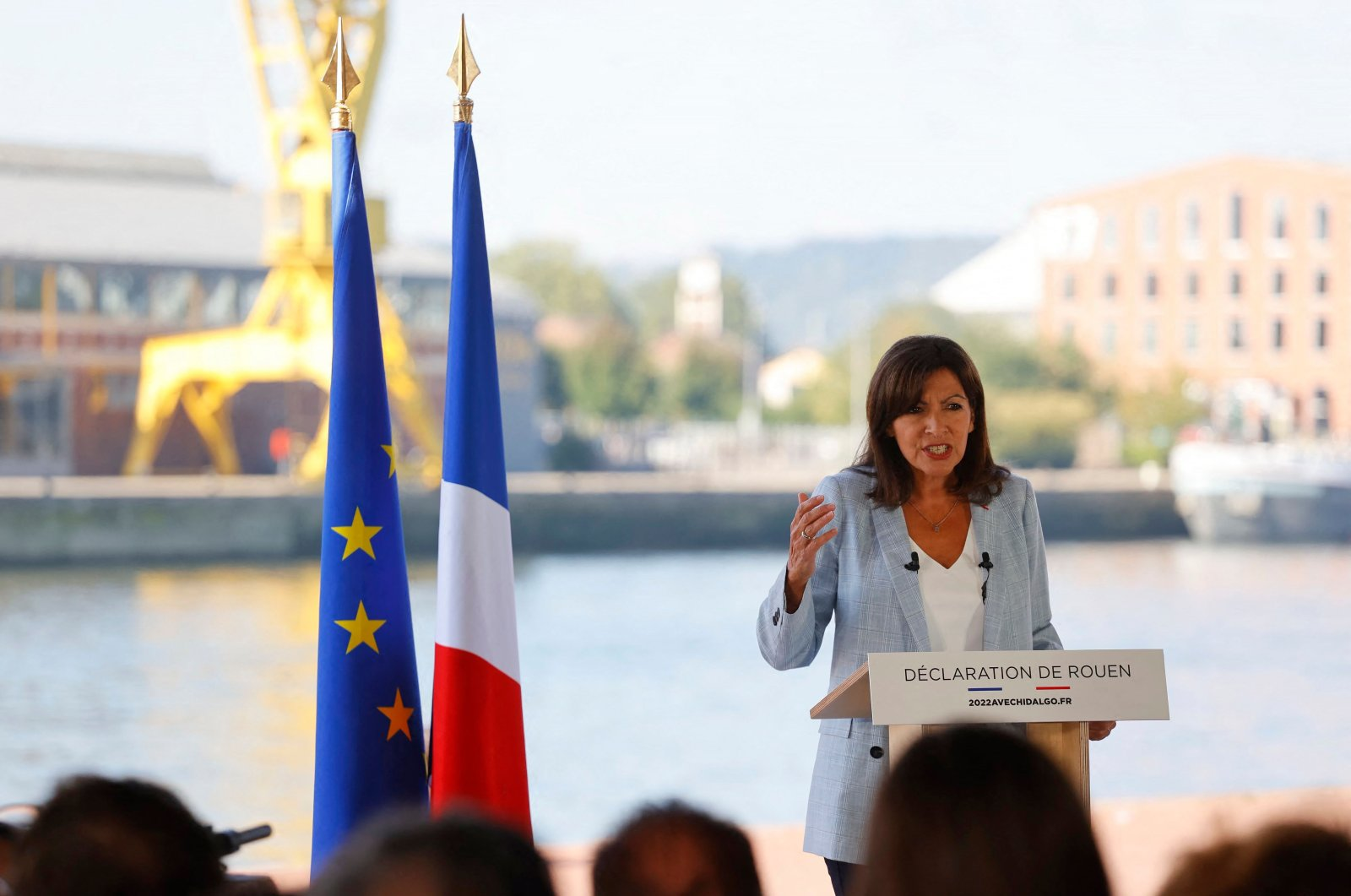 Mayor of Paris Anne Hidalgo speaks in Rouen, western France, Sept. 12, 2021, as she announces that she plans to stand as a Socialist Party candidate in next year's presidential elections. (AFP Photo)