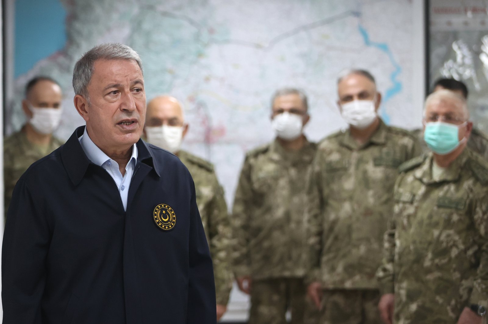 Defense Minister Hulusi Akar, who visited the Turkey-Syria border, is seen here with commanders, Hatay, Turkey, July 27, 2021. (AA File Photo)