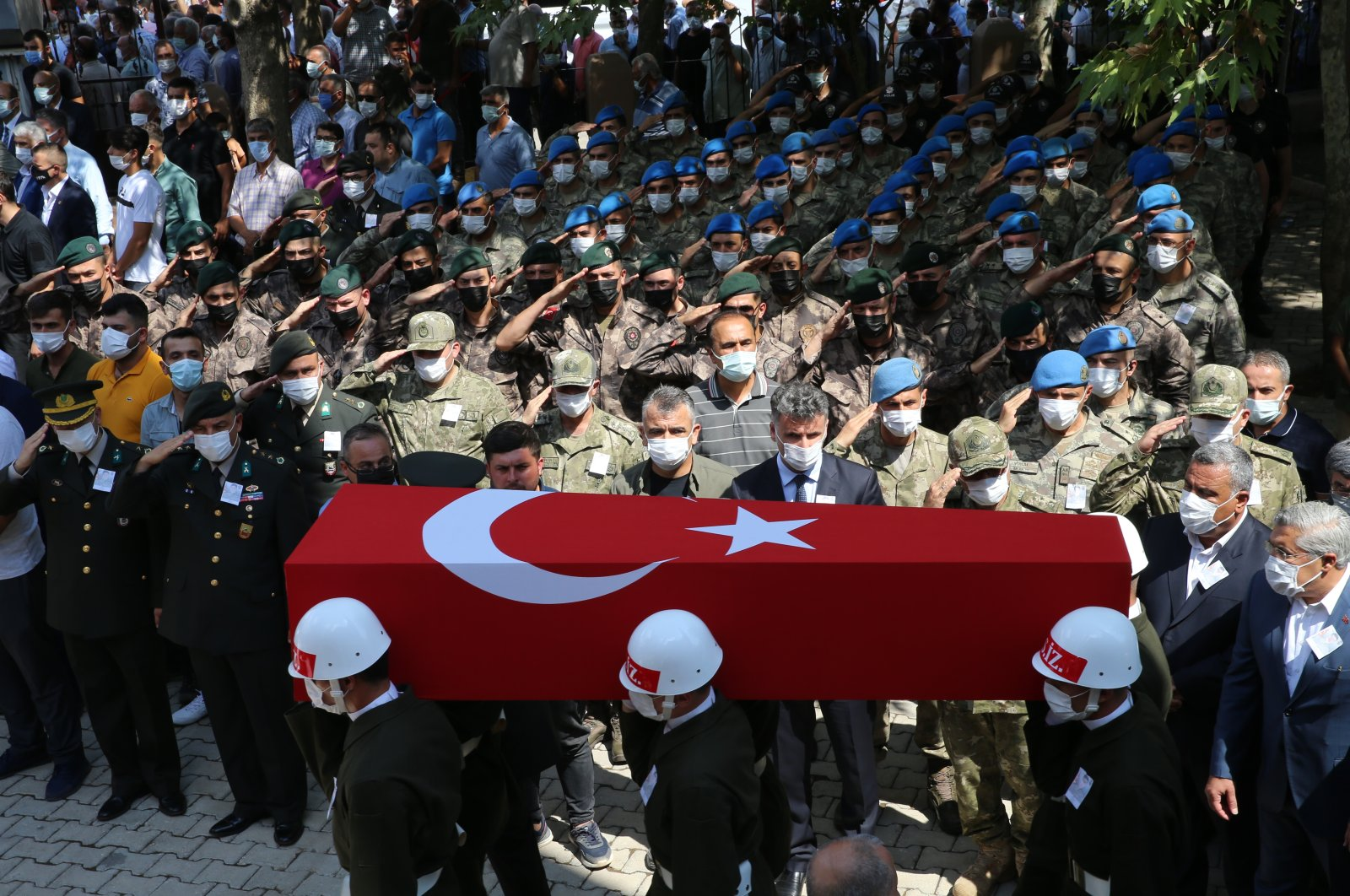 Turkish soldier Turgay Abacı, 21, is laid to rest in Hatay province's Hassa district, Turkey, Sept. 12, 2021. (AA Photo)
