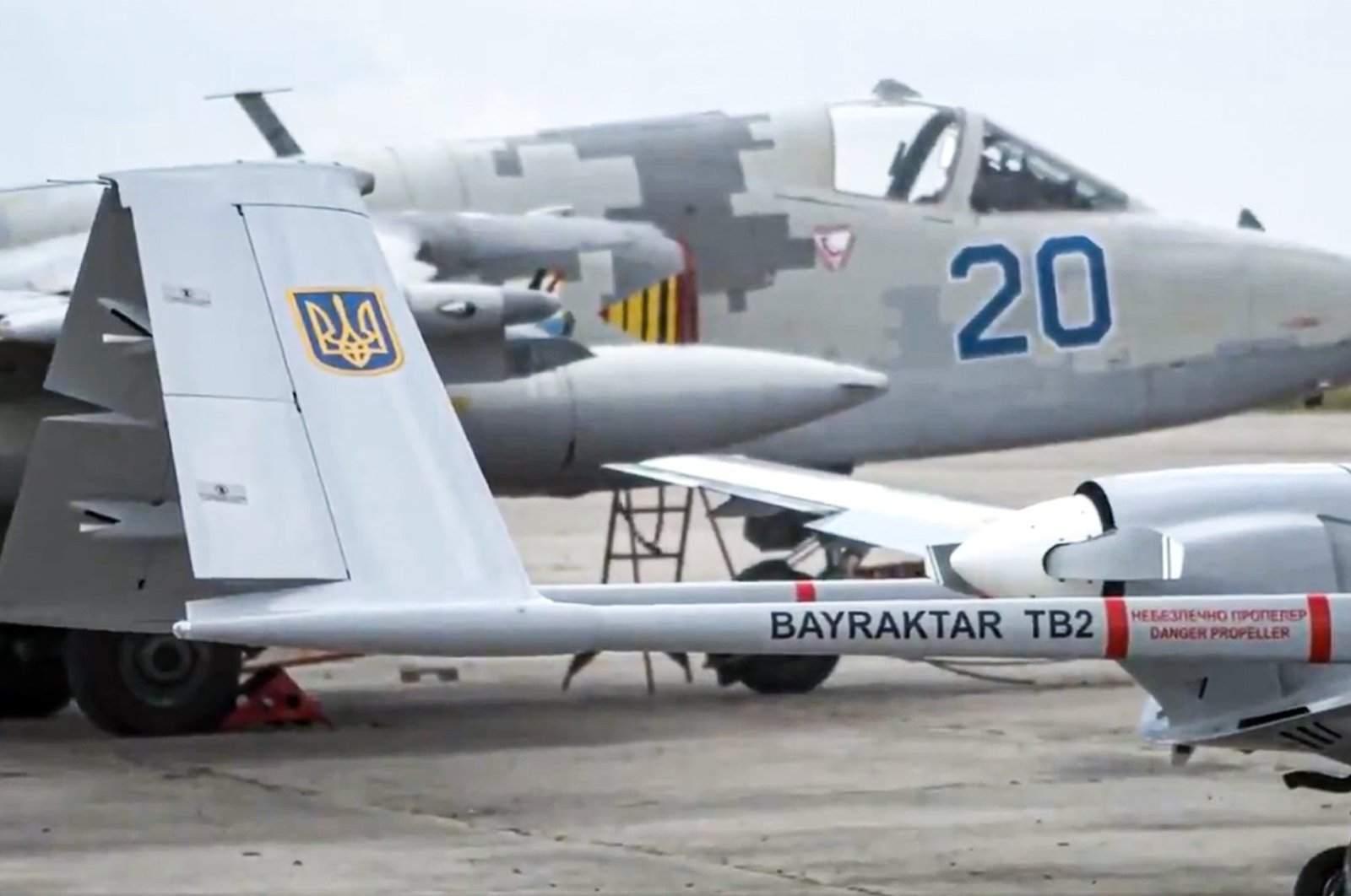 A screengrab shows a Bayraktar TB2 UCAV that belongs to the Ukrainian army during the Sea Breeze military exercise in the Black Sea, June 30, 2021.