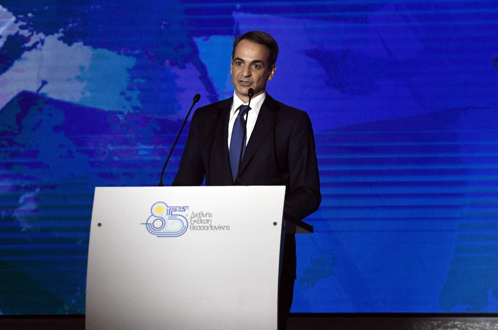 Greek Prime Minister Kyriakos Mitsotakis addresses representatives of local chambers, unions and administrations during the opening of the 85th Thessaloniki International Fair (TIF) in Thessaloniki, northern Greece, on Sept. 11, 2021. (AFP Photo)