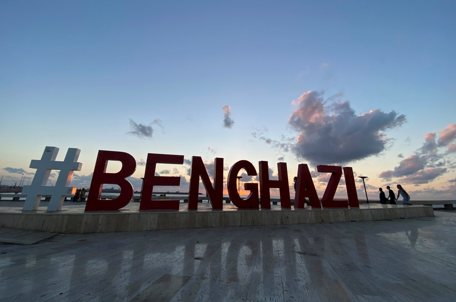 The word of Benghazi is placed next to a beach in Benghazi, Libya, Sept. 8, 2021. (REUTERS Photo)