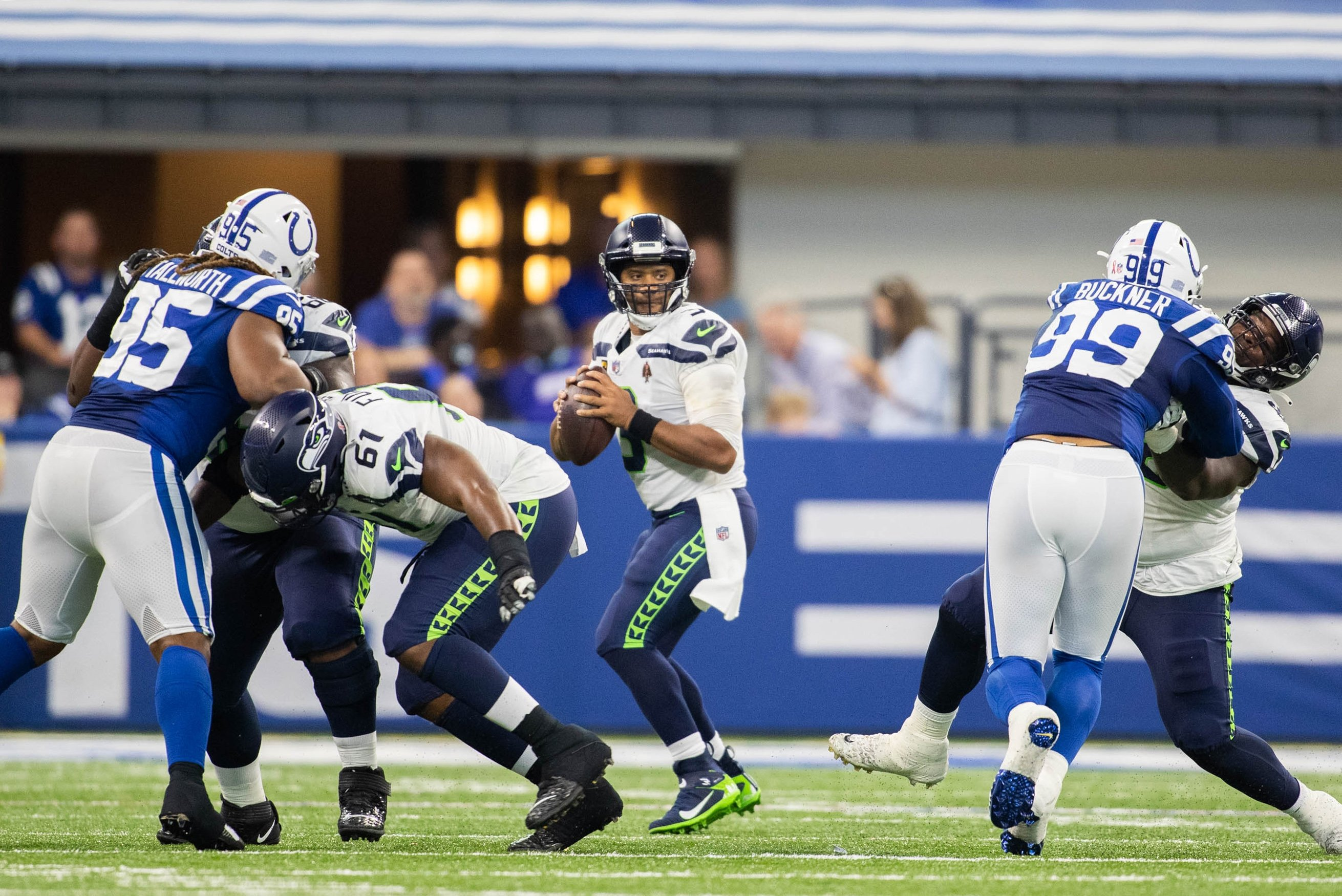Seattle Seahawks quarterback Russell Wilson (3) looks to pass the ball in the second quarter against the Indianapolis Colts at Lucas Oil Stadium, Indianapolis, Indiana, U.S., Sept. 12, 2021. (Trevor Ruszkowski-USA TODAY Sports via Reuters)