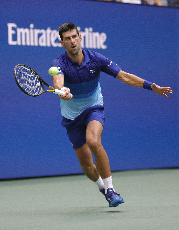 Novak Djokovic returns the ball against Daniil Medvedev during their U.S. Open men's singles final, New York, U.S., Sept. 12, 2021. (AFP Photo)