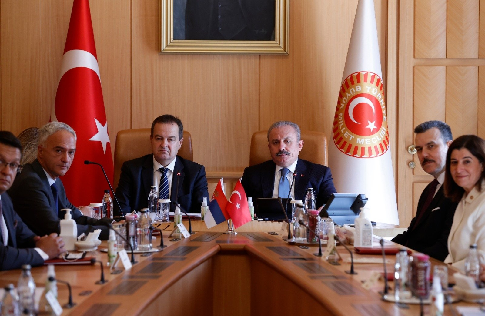 Parliament Speaker Mustafa Şentop (R) and Serbian Counterpart IvicaDacic hold a meeting with their delegations, Monday, Sept. 13, 2021. (DHA Photo)