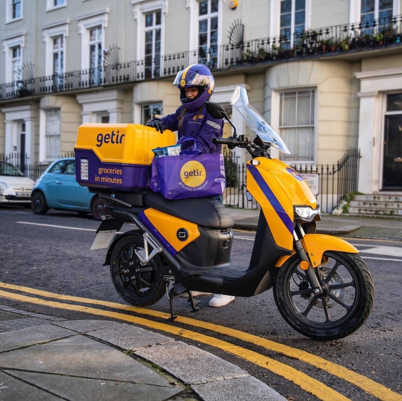 A Getir delivery person is seen beside his bike, London, U.K., Jan. 27, 2021. (Courtesy of Getir)