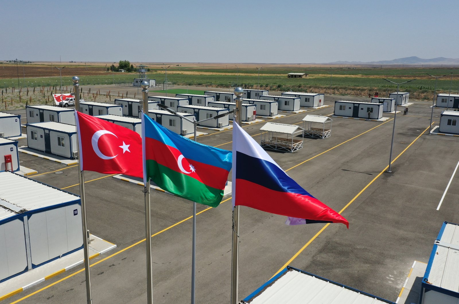 A view of the Russian-Turkish center monitoring the cease-fire in Nagorno-Karabakh, Aghdam, Azerbaijan, July 5, 2021  (Getty Images)