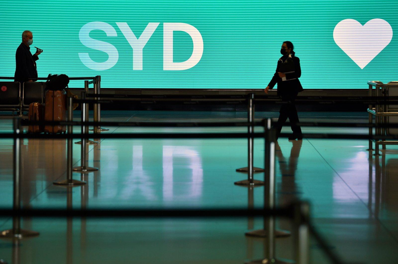 A nearly empty terminal amid the ongoing coronavirus pandemic at Sydney International Airport in Sydney, Australia, Sept. 8, 2021. (EPA Photo)