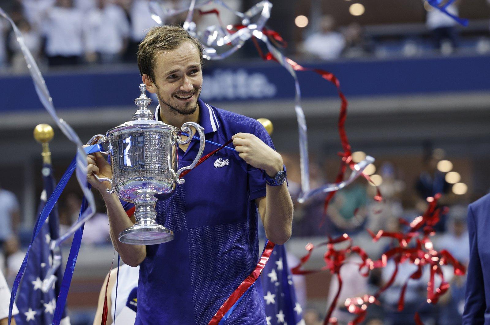 Daniil Medvedev holds up the championship trophy after defeating Novak Djokovic in the U.S. Open men's singles final, New York, U.S., Sept. 12, 2021. (EPA Photo)