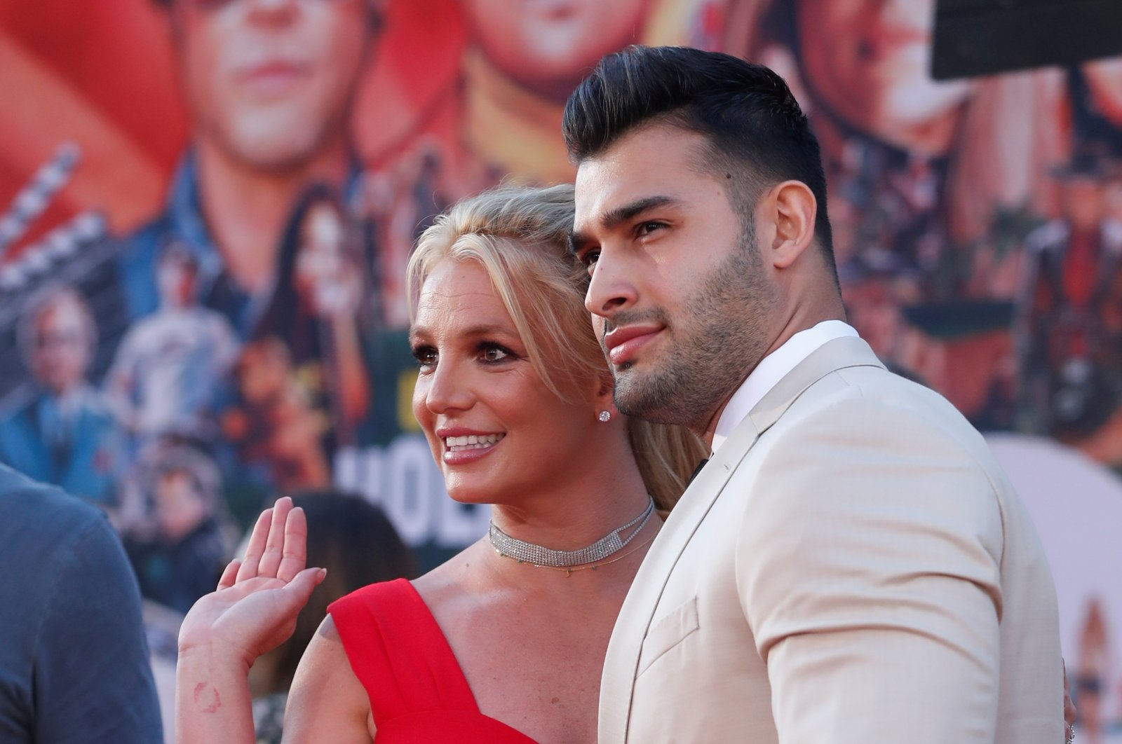 """Britney Spears and Sam Asghari pose at the premiere of """"Once Upon a Time In Hollywood"""" in Los Angeles, California, U.S., July 22, 2019. (REUTERS Photo)"""