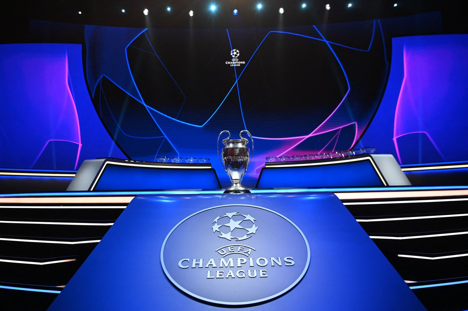 The UEFA Champions League trophy prior to the draw for the 2021/2022 European football tournament in Istanbul, Turkey, Aug. 26, 2021. (AFP Photo)