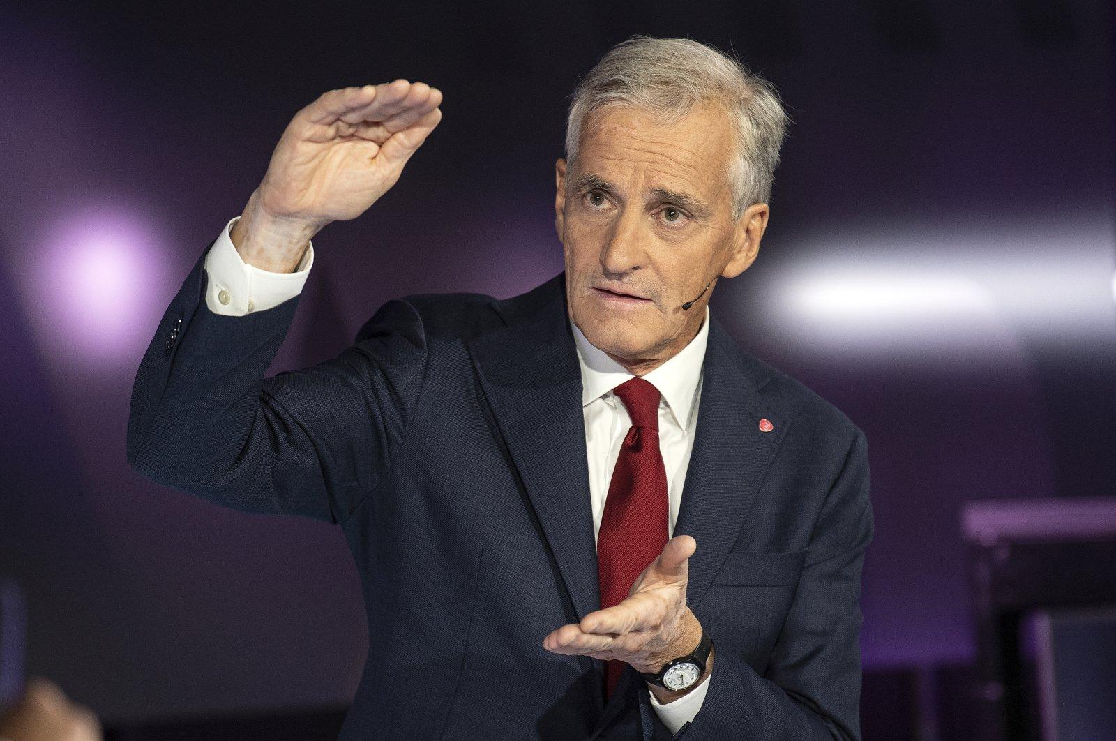 Labor Party leader Jonas Gahr Store speaks during a party leader debate on TV2, in Bergen, Norway, Aug. 31, 2021. (AP Photo)